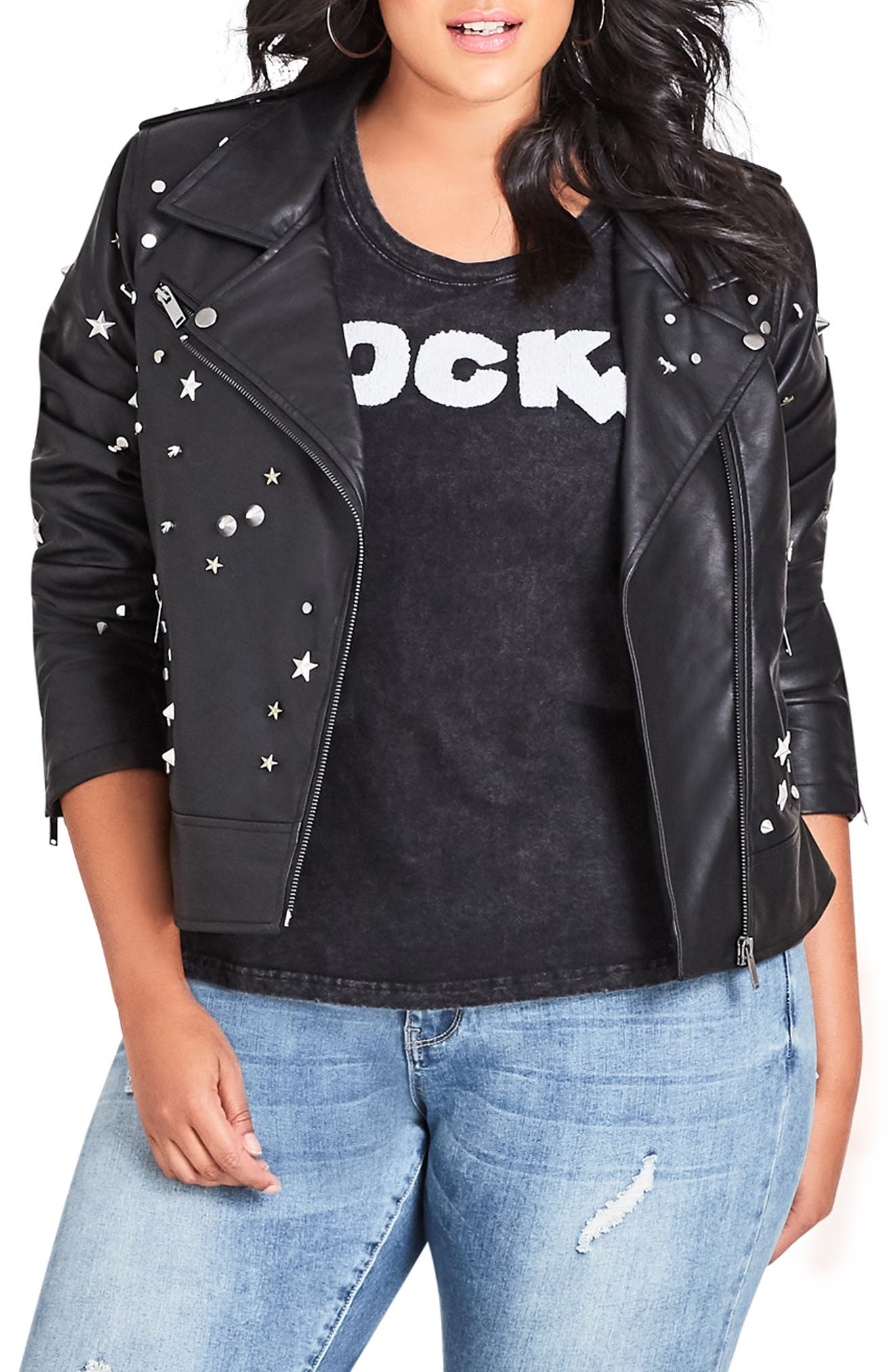 Plus Size City Chic Rock Tee, Black