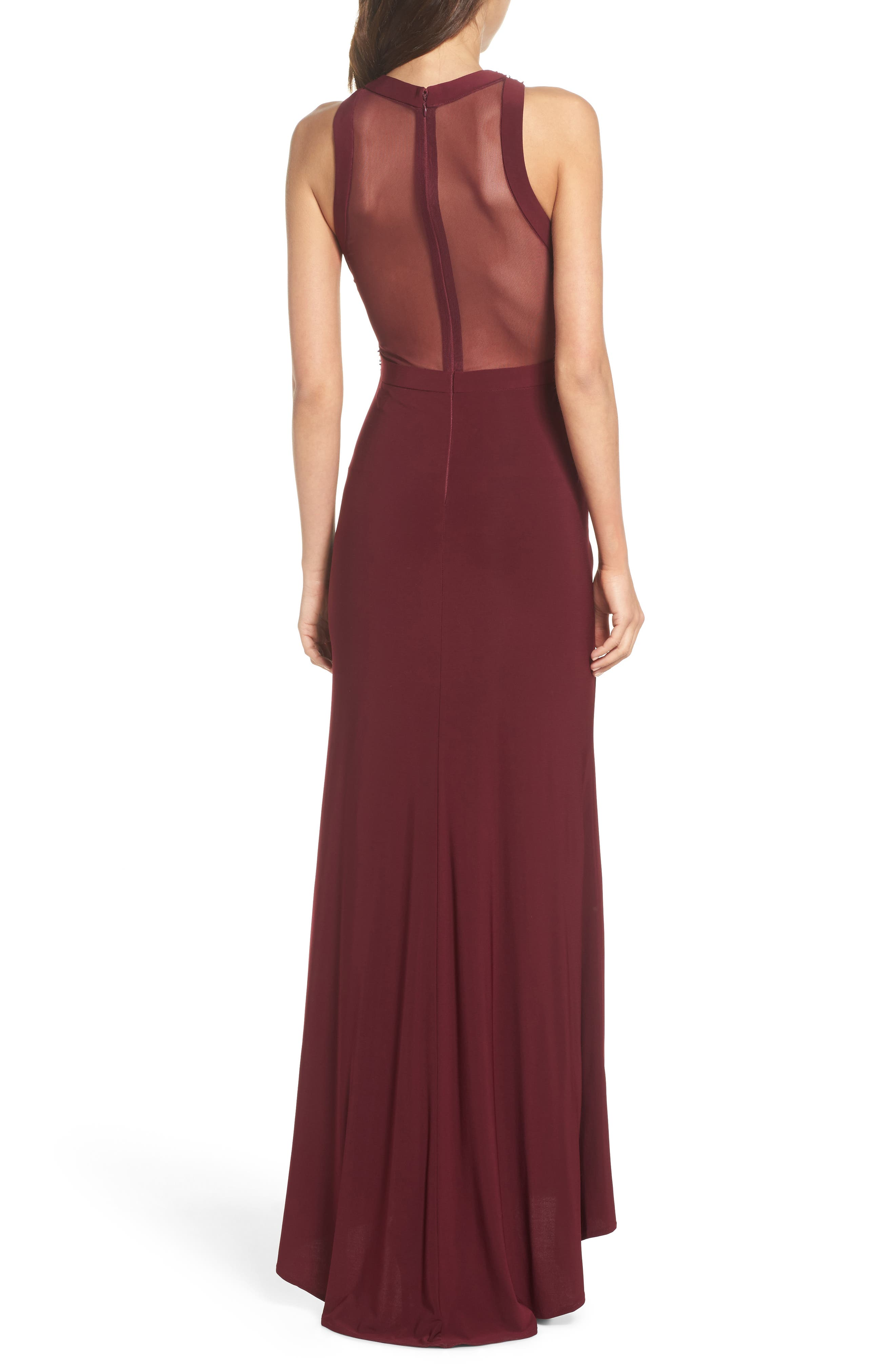 Embellished Illusion Gown,                             Alternate thumbnail 2, color,                             MERLOT