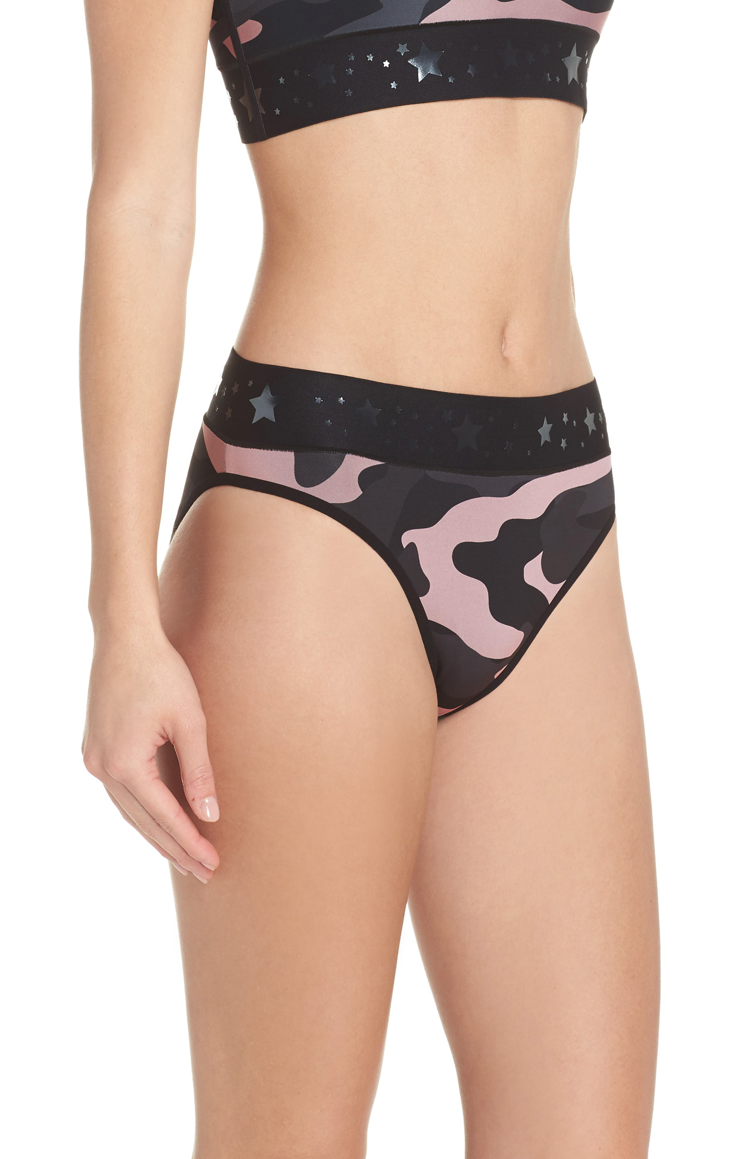 Argon Camo High Waist Bikini Bottoms,                             Alternate thumbnail 6, color,