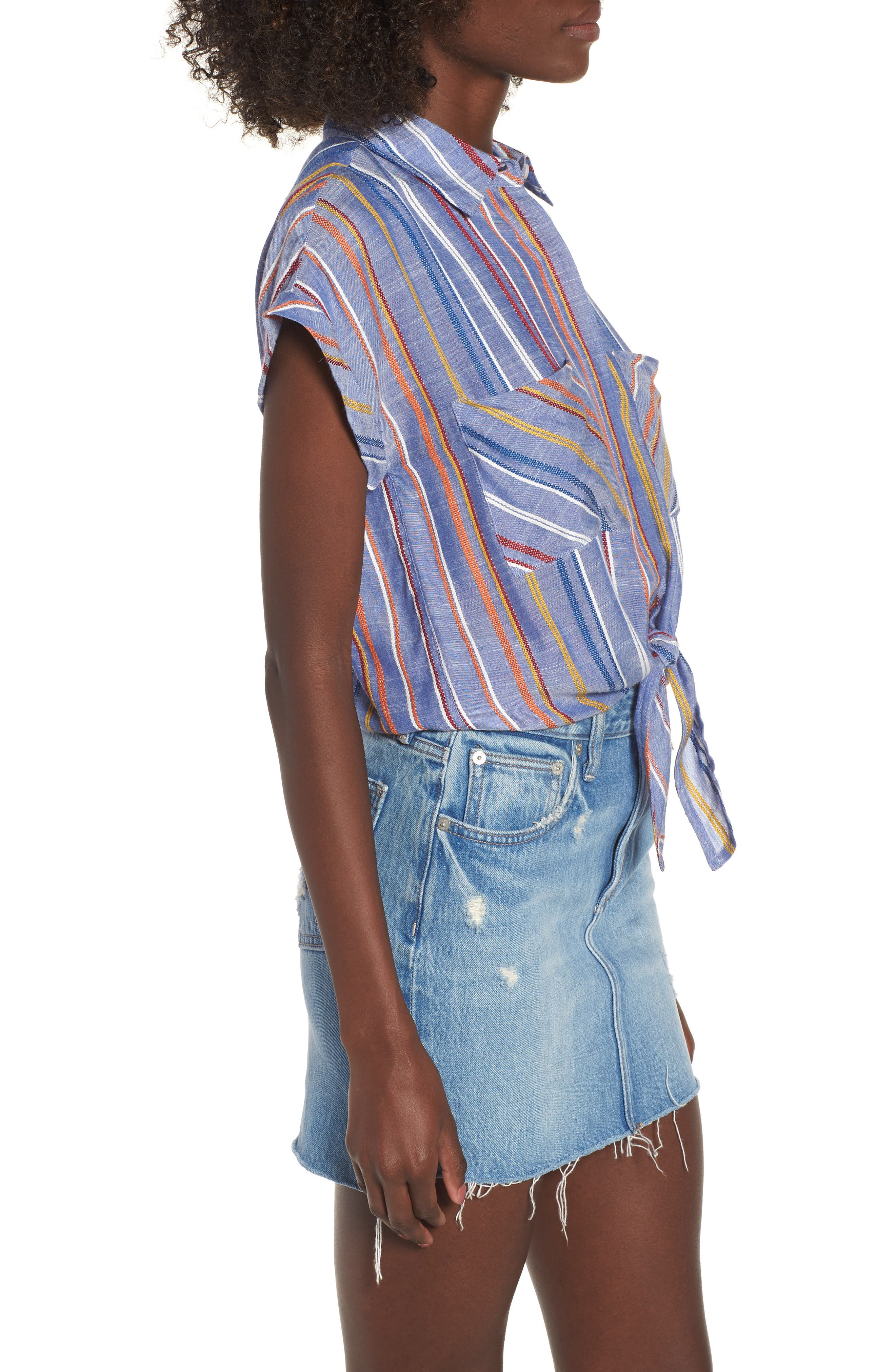Stripe Tie Front Shirt,                             Alternate thumbnail 3, color,                             410