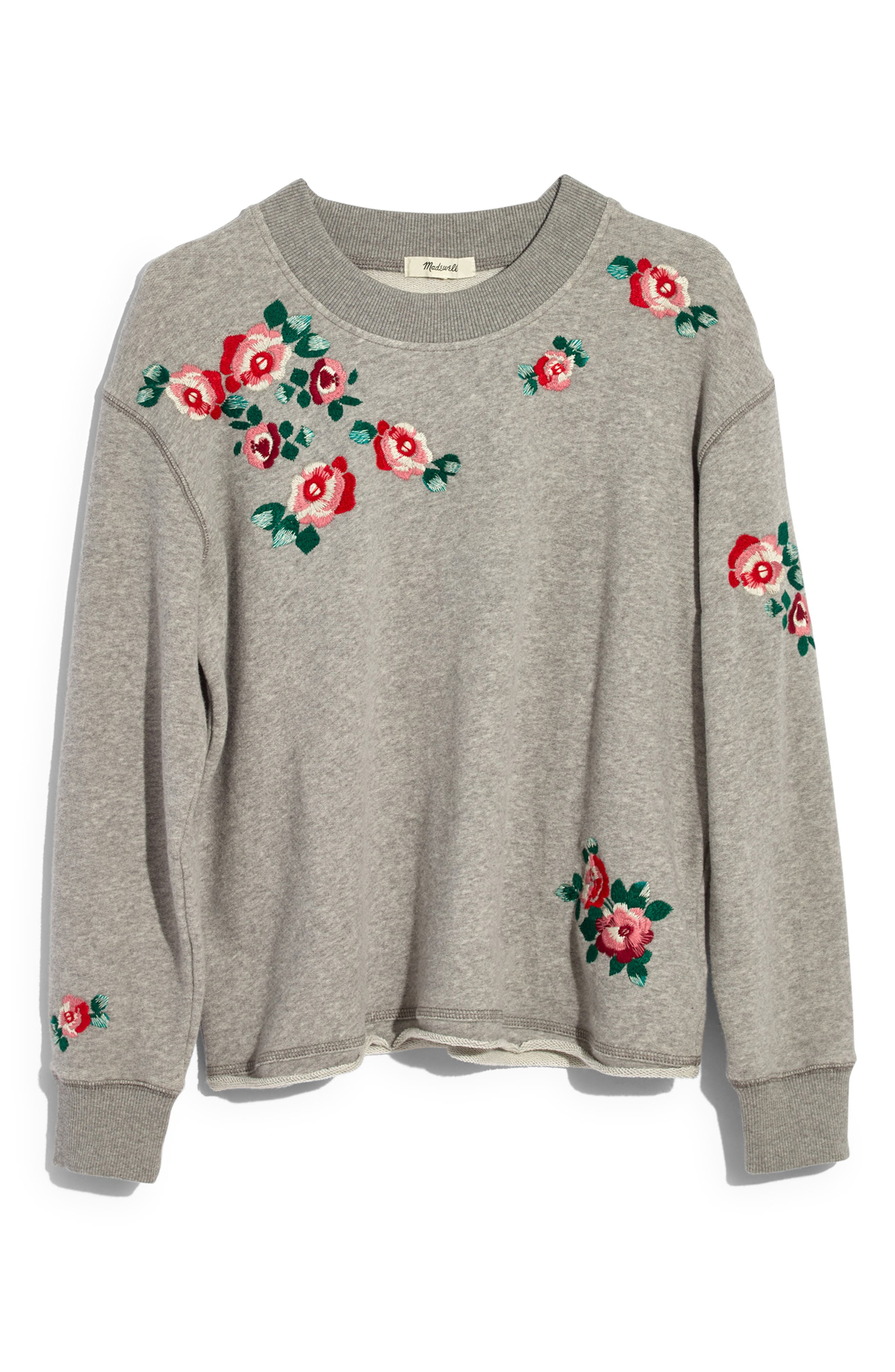 Embroidered Crop Sweatshirt,                             Alternate thumbnail 3, color,                             020