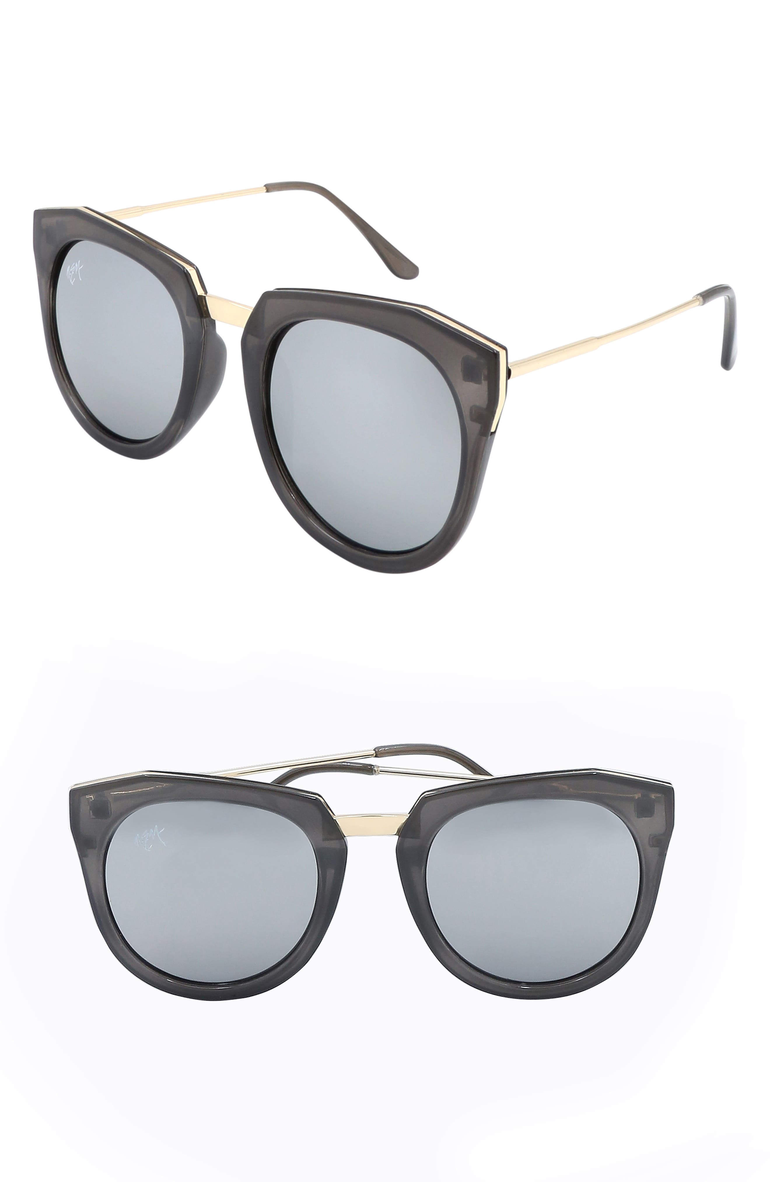 Nem Haute Line 55Mm Angular Sunglasses - Dark Marble W Silver Mirror