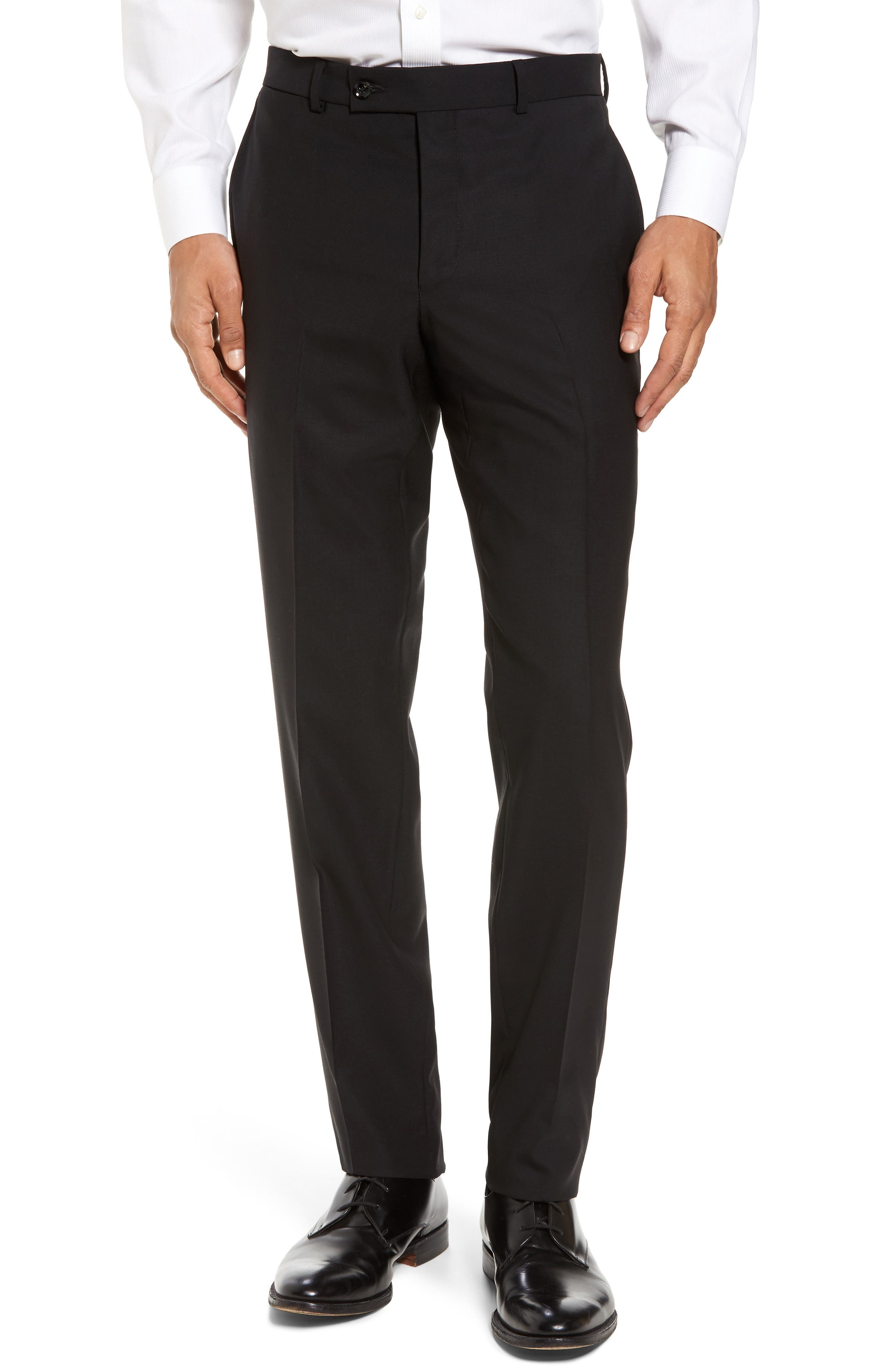 Jefferson Flat Front Solid Wool Trousers,                             Main thumbnail 1, color,                             BLACK