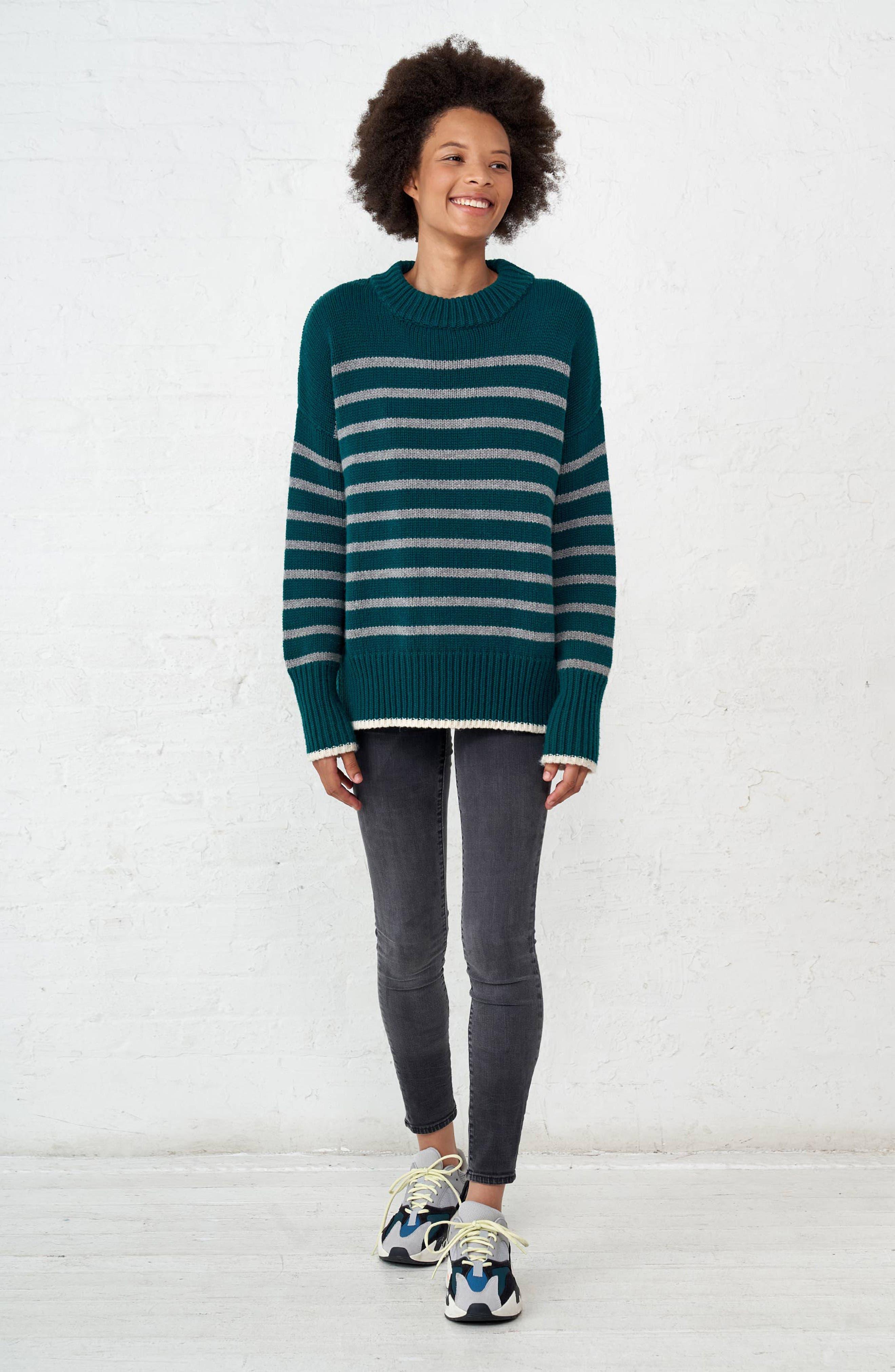 Marin Wool & Cashmere Sweater,                             Alternate thumbnail 7, color,                             FOREST GREEN/ GREY MARLE