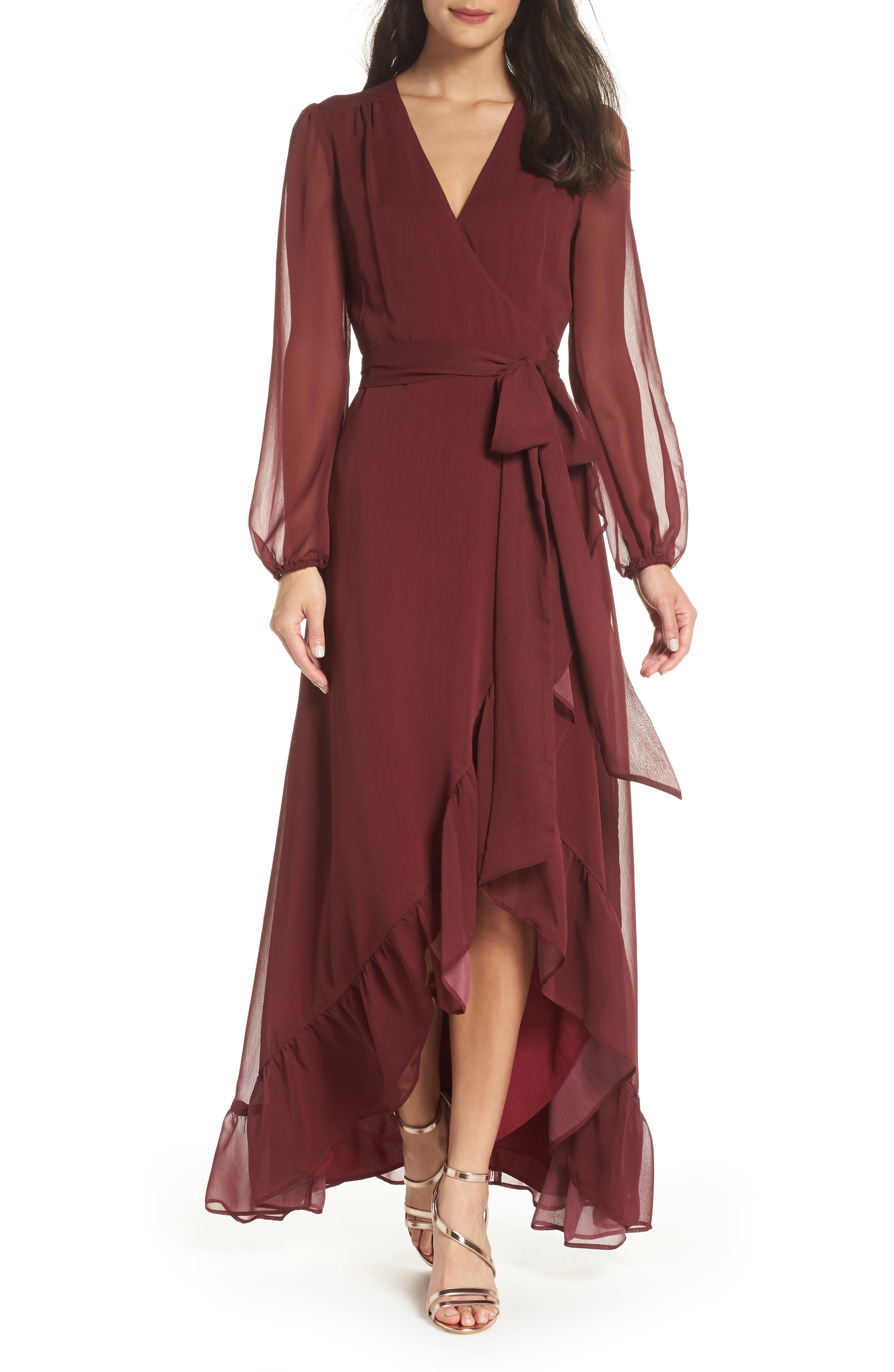 Meryl Long Sleeve Wrap Maxi Dress,                             Main thumbnail 1, color,                             CABERNET