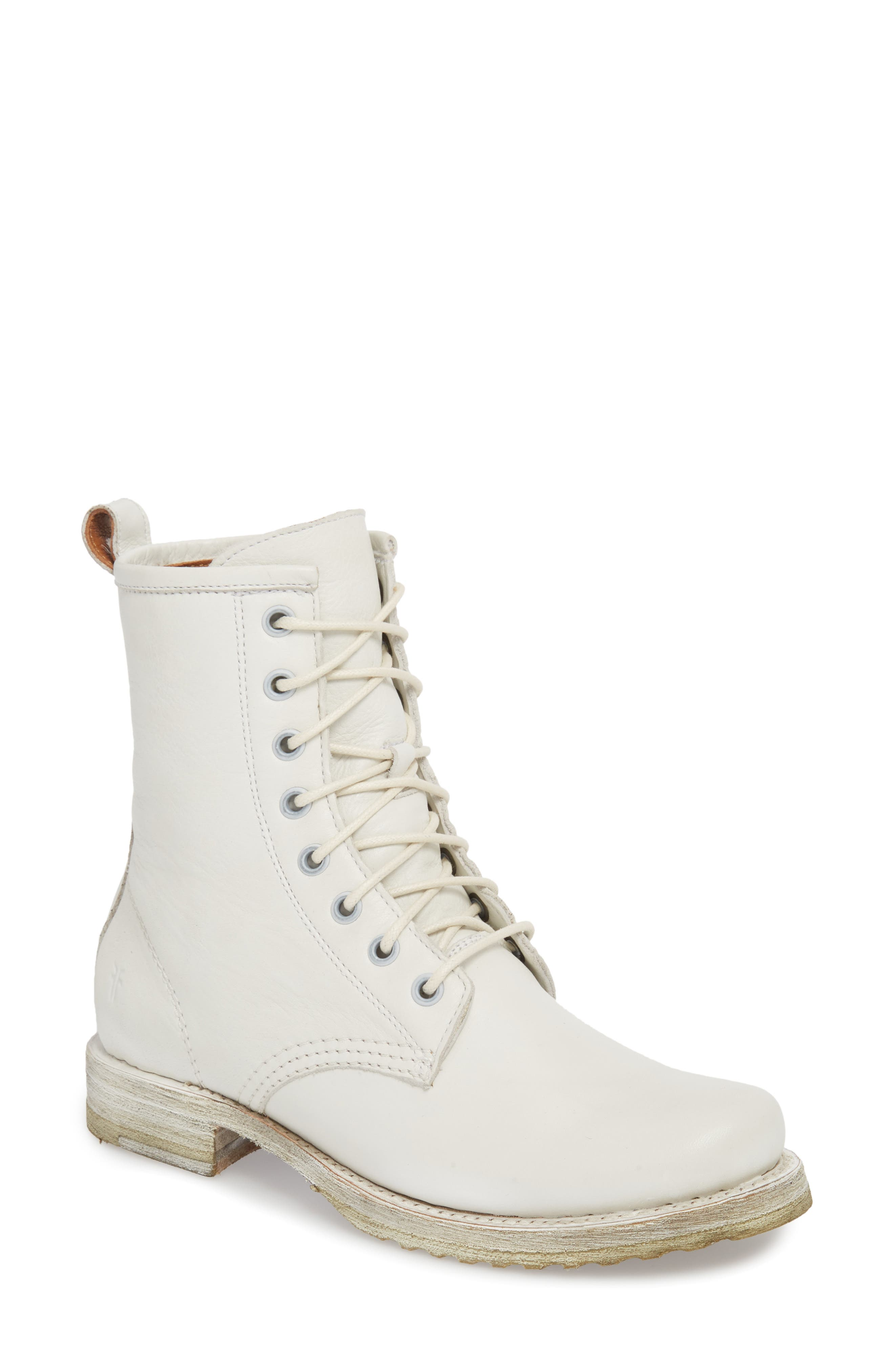 'Veronica Combat' Boot,                             Main thumbnail 1, color,                             WHITE LEATHER