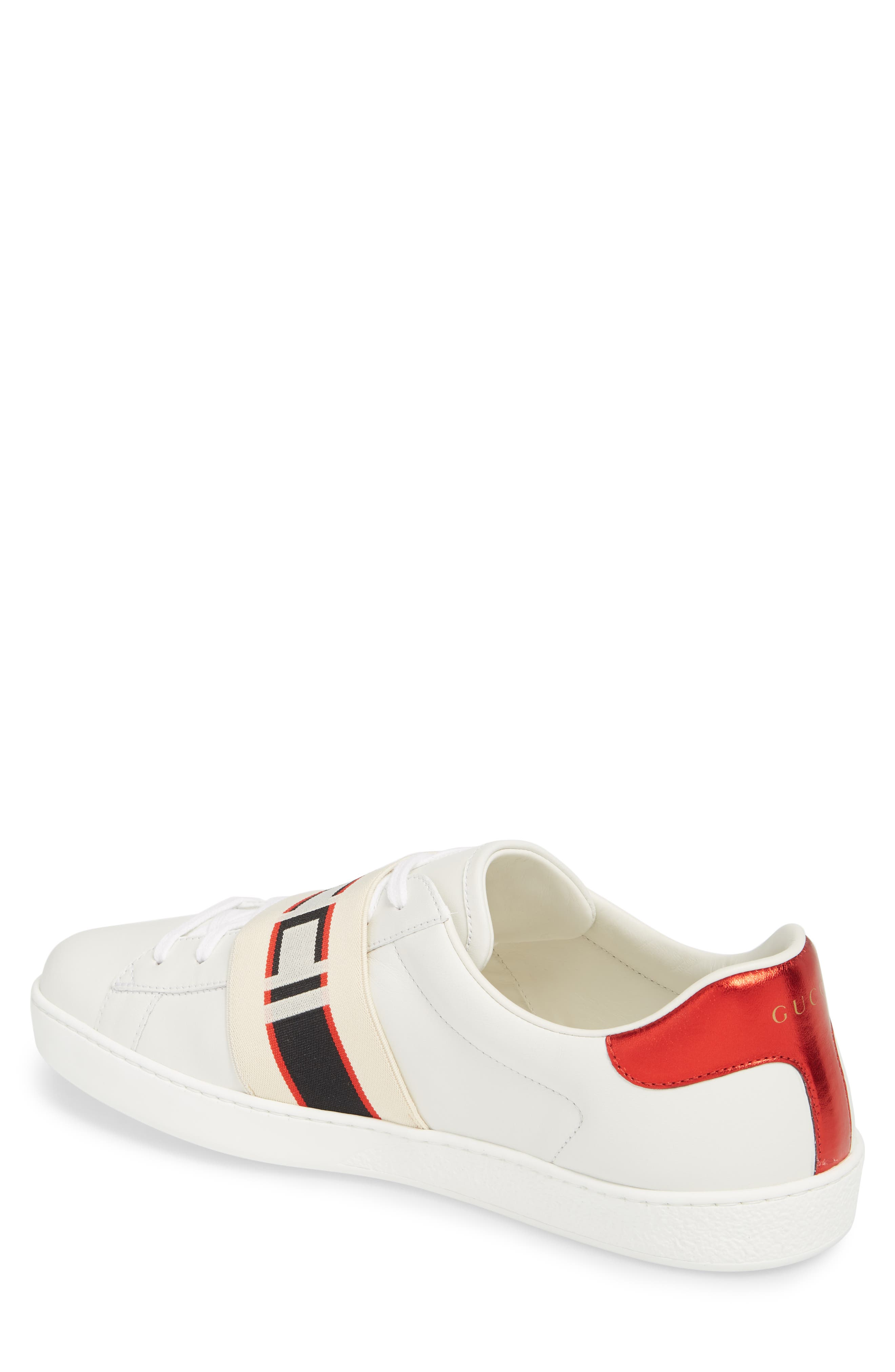 New Ace Stripe Leather Sneaker,                             Alternate thumbnail 2, color,                             BIANCO/ WHITE FLAME