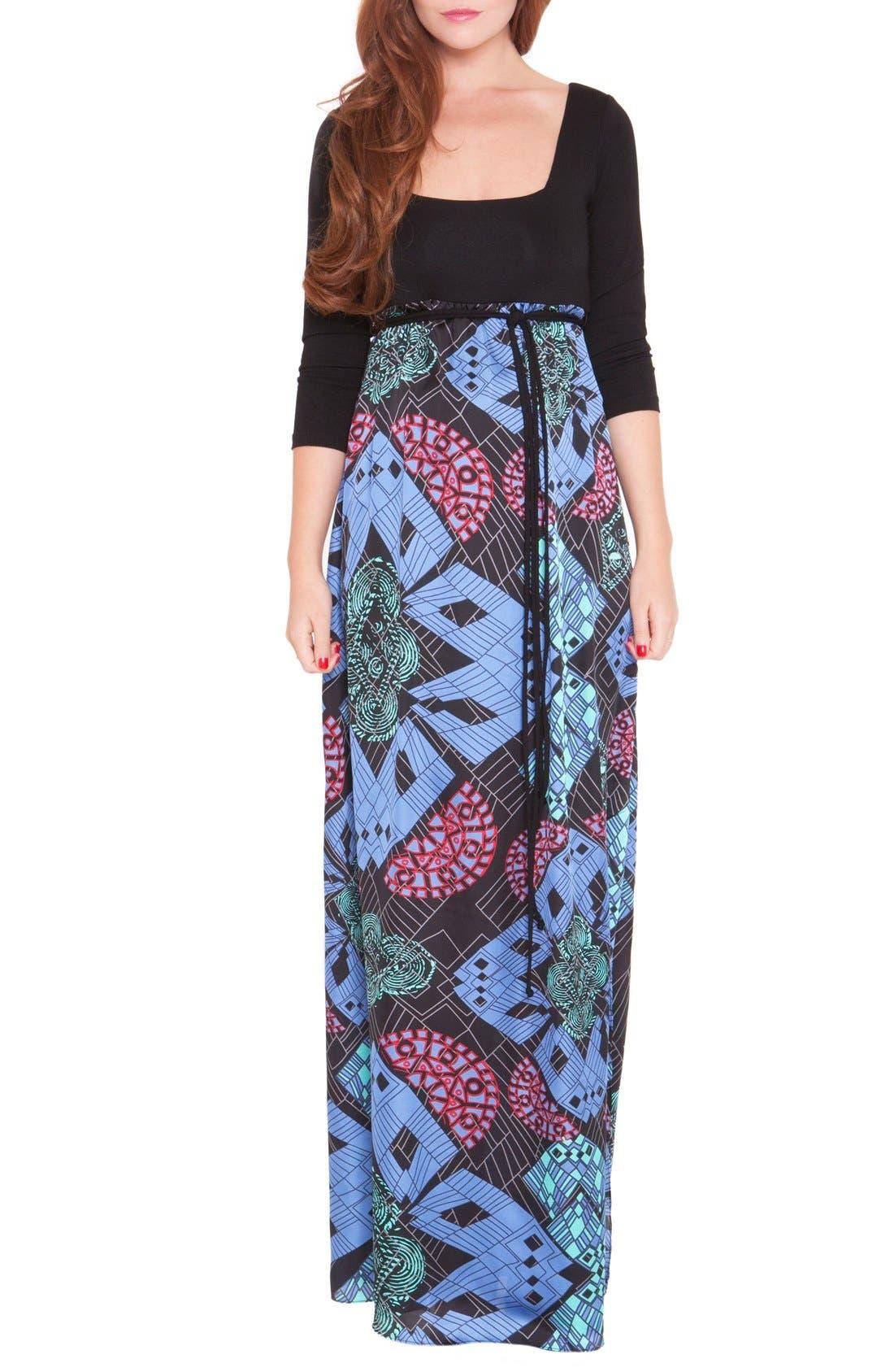'Samantha' Maternity Maxi Dress,                             Main thumbnail 1, color,                             BLUE