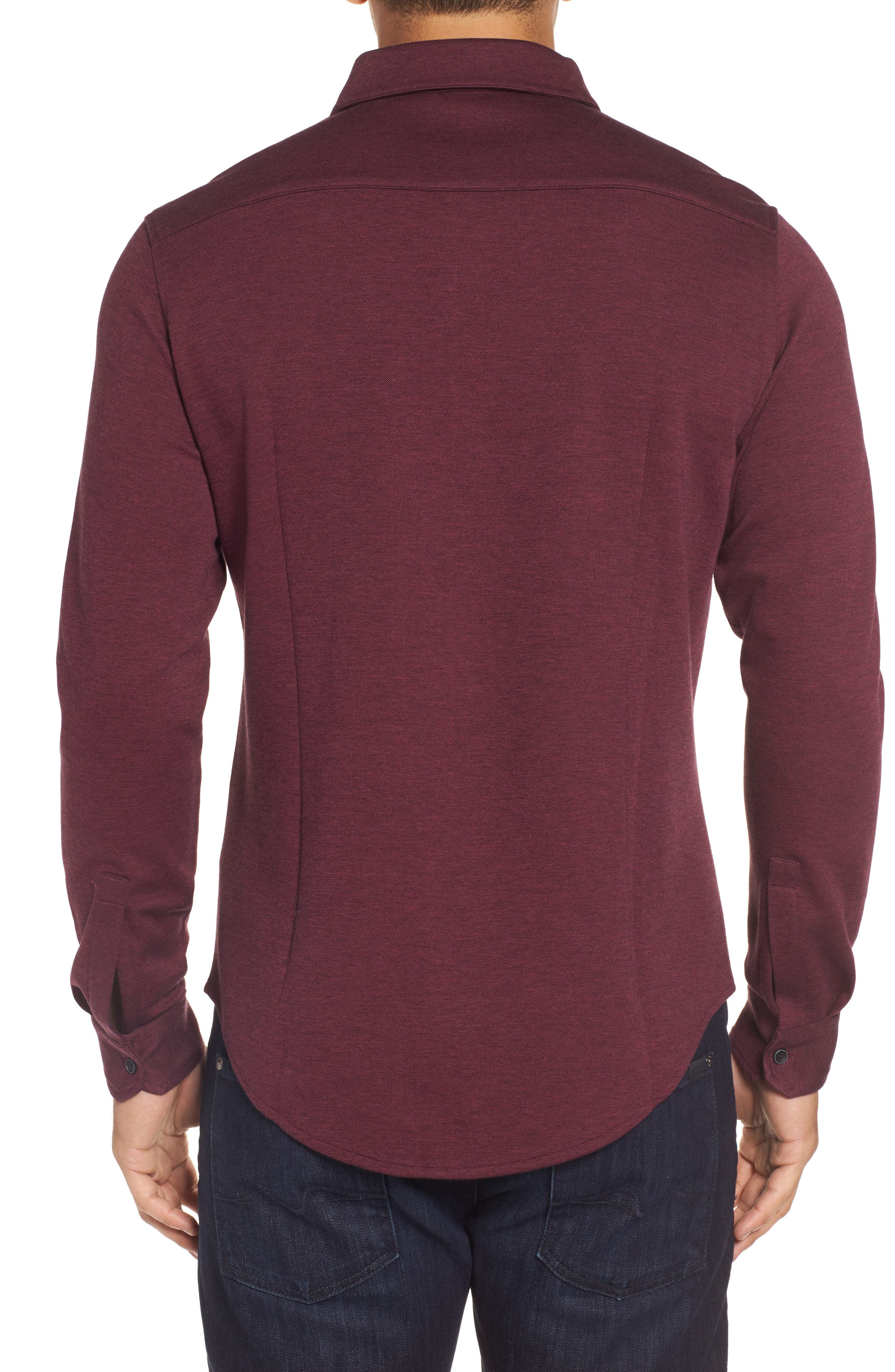 Classic Fit Heathered Knit Sport Shirt,                             Alternate thumbnail 6, color,