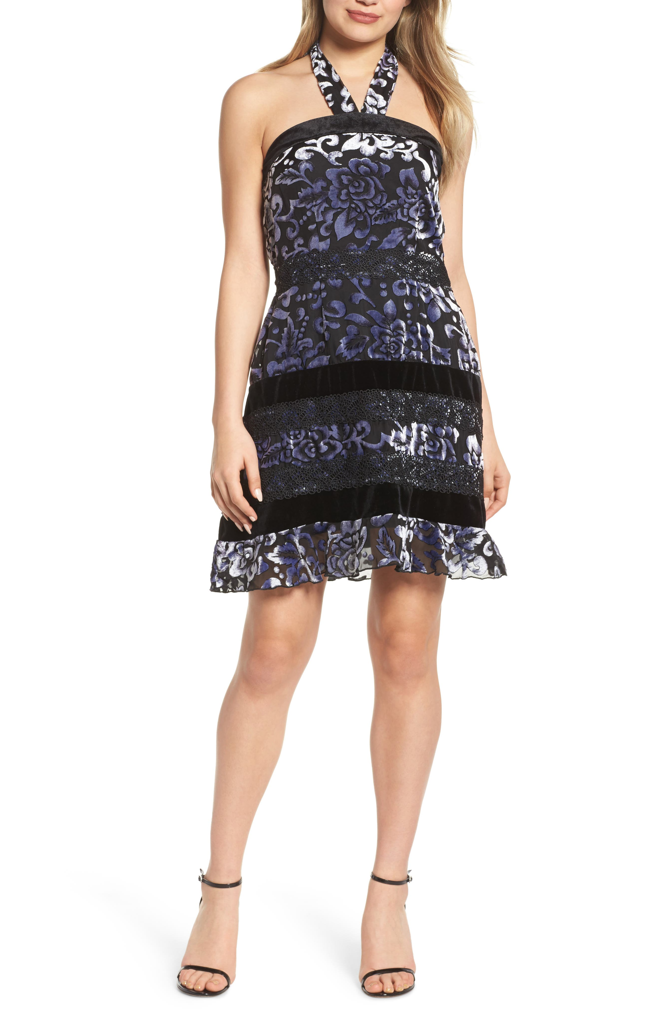 Velvet Halter Neck Fit & Flare Dress,                             Main thumbnail 1, color,