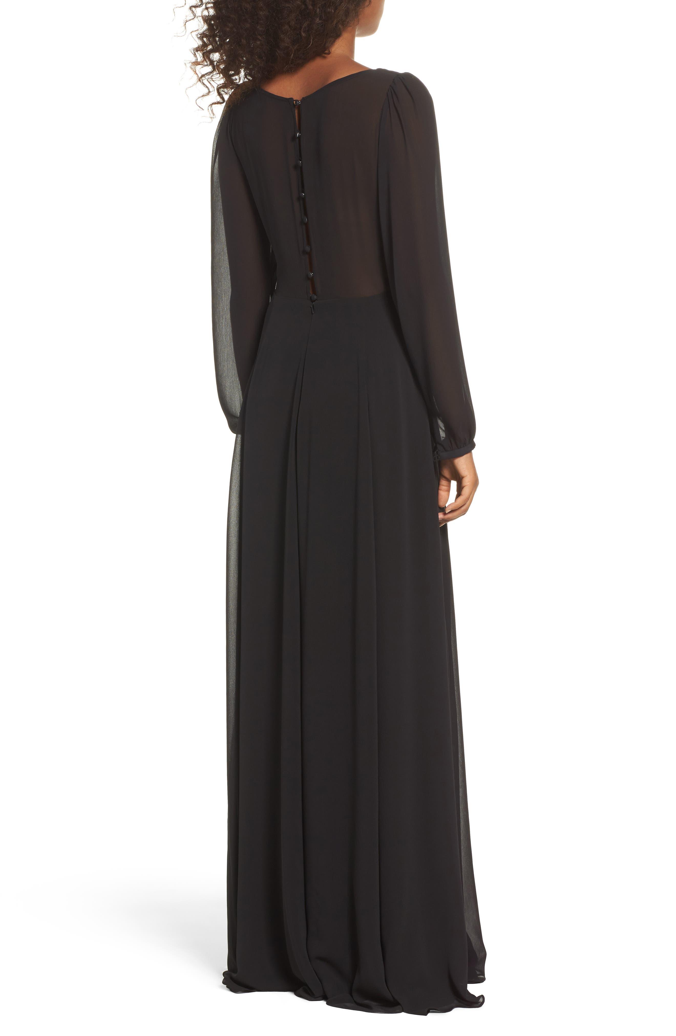 Donna Luxe Chiffon Surplice A-Line Gown,                             Alternate thumbnail 2, color,                             001