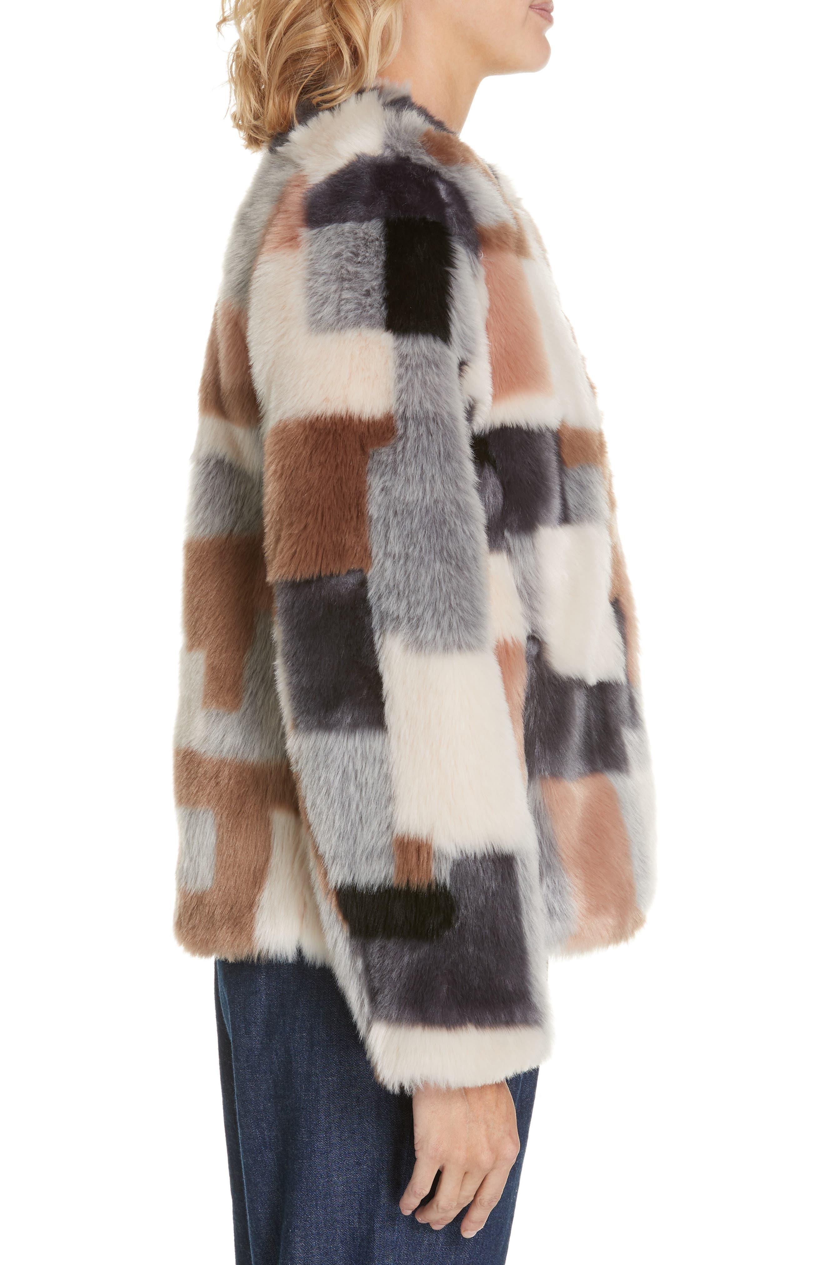 LA VIE REBECCA TAYLOR,                             Patched Faux Fur Jacket,                             Alternate thumbnail 3, color,                             400