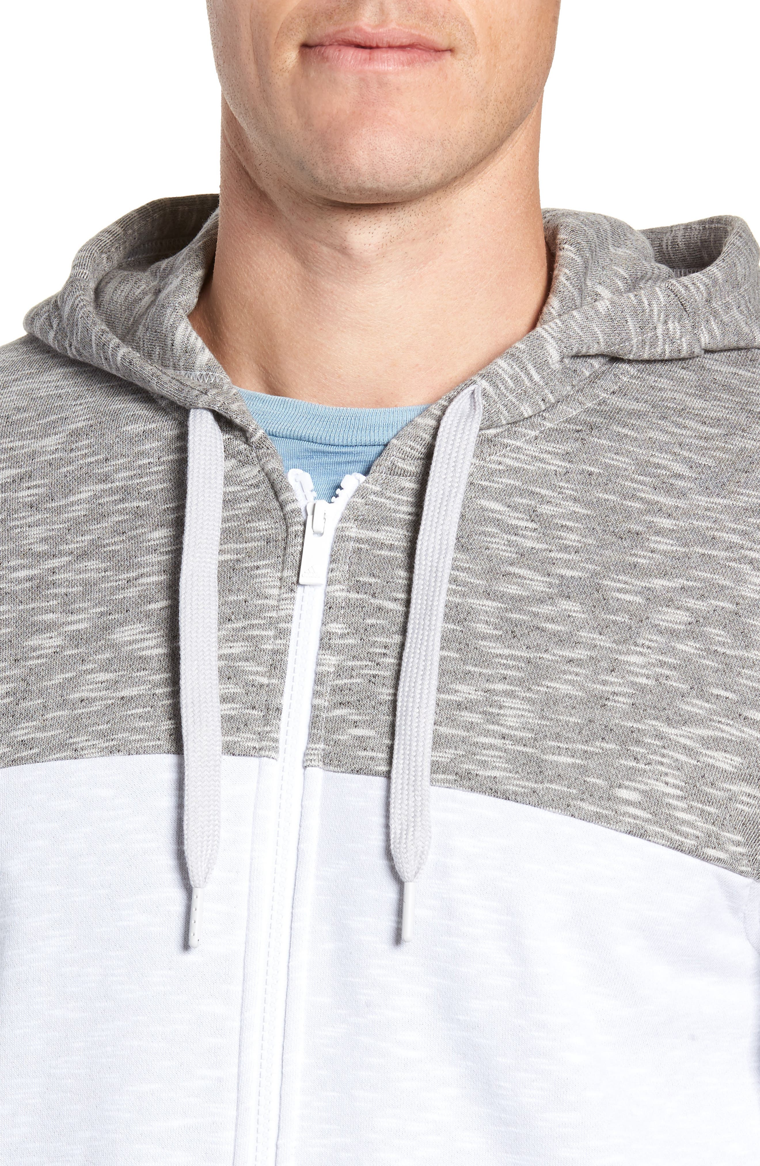Pick Up Colorblock Zip Hoodie,                             Alternate thumbnail 4, color,                             LGH SOLID GREY/ WHITE