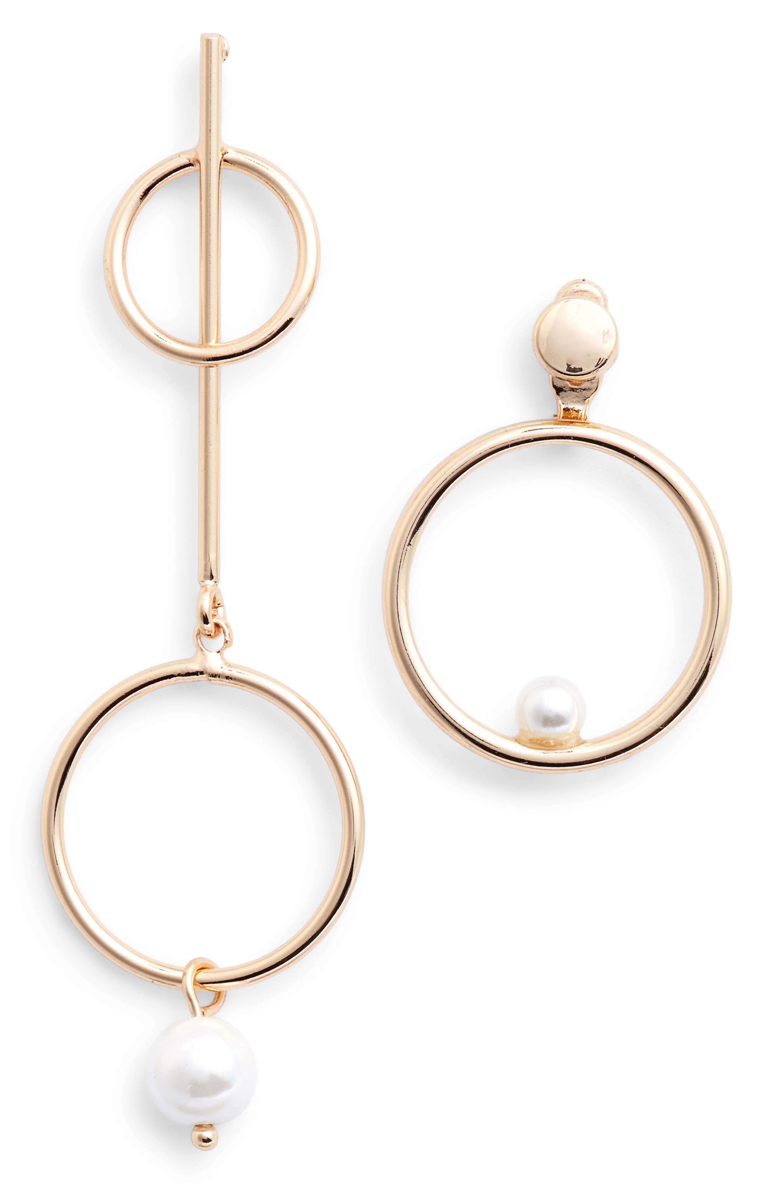 Mismatched Imitation Pearl Statement Earrings,                         Main,                         color, GOLD