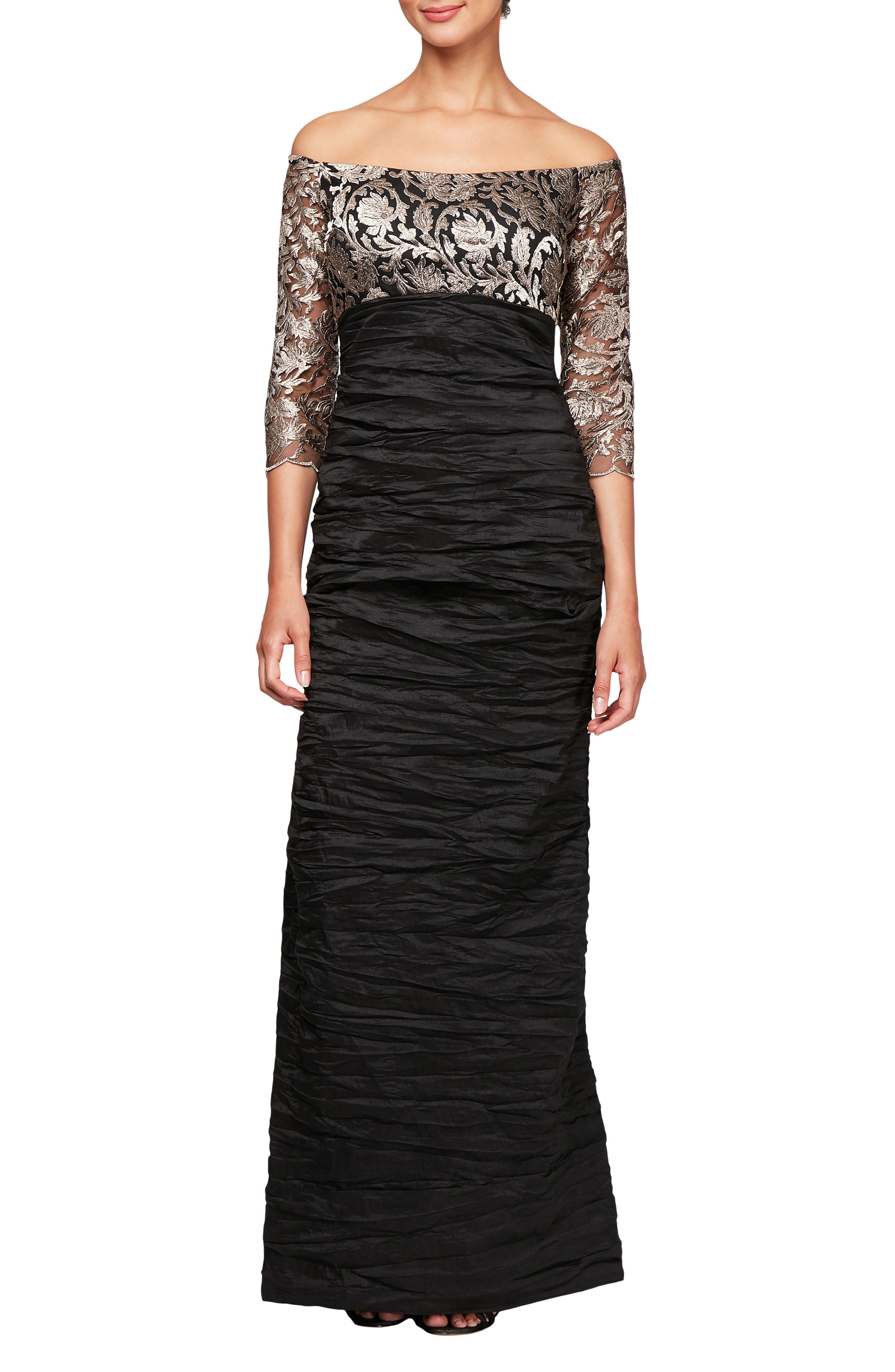 Alex Evenings Off Shoulder Empire Waist Gown, Black