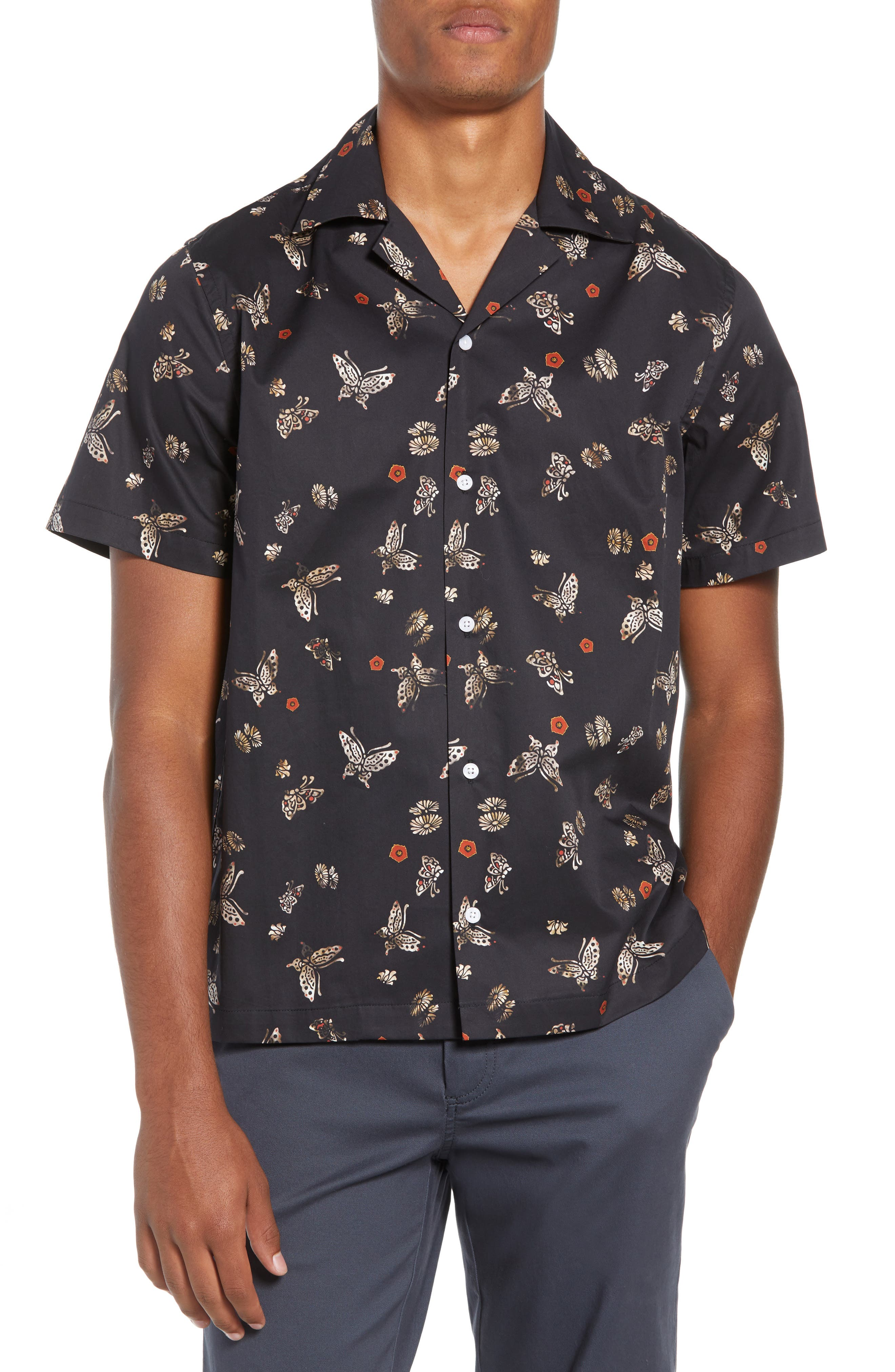 Canty Lacquer Butterfly Camp Shirt,                             Main thumbnail 1, color,                             LACQUER BUTTERFLY PRINT