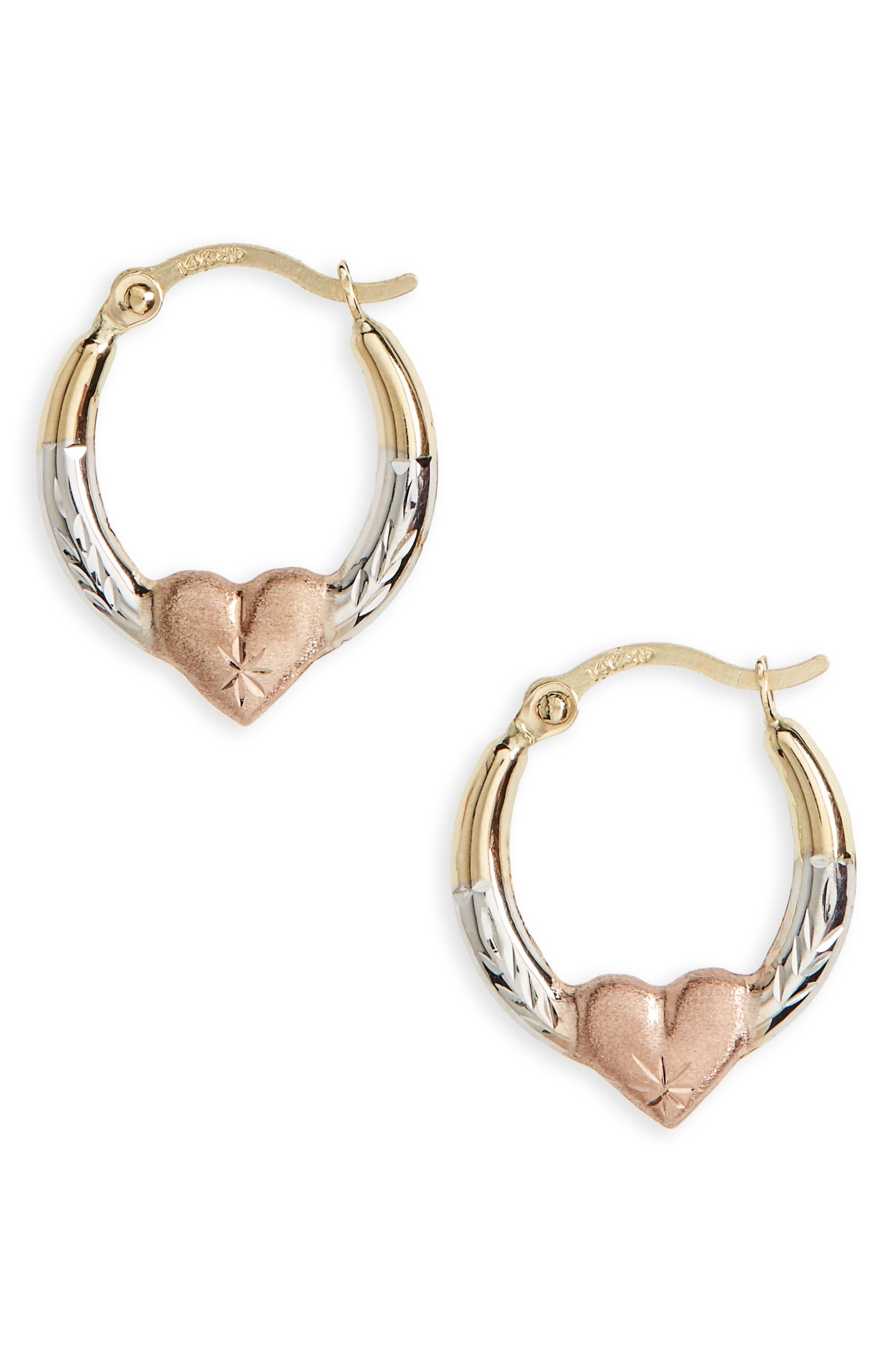 Kardee Kids 14k Gold Heart Hoop Earrings,                             Main thumbnail 1, color,                             710