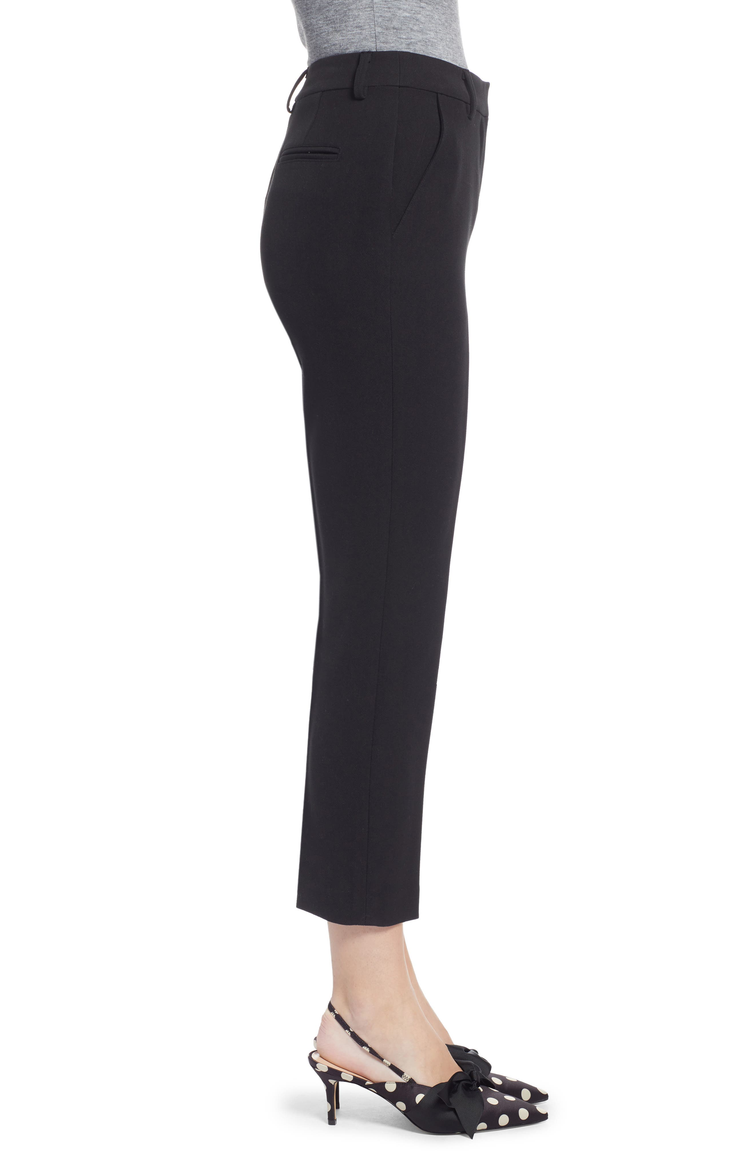 Flat Front Trousers,                             Alternate thumbnail 3, color,                             BLACK