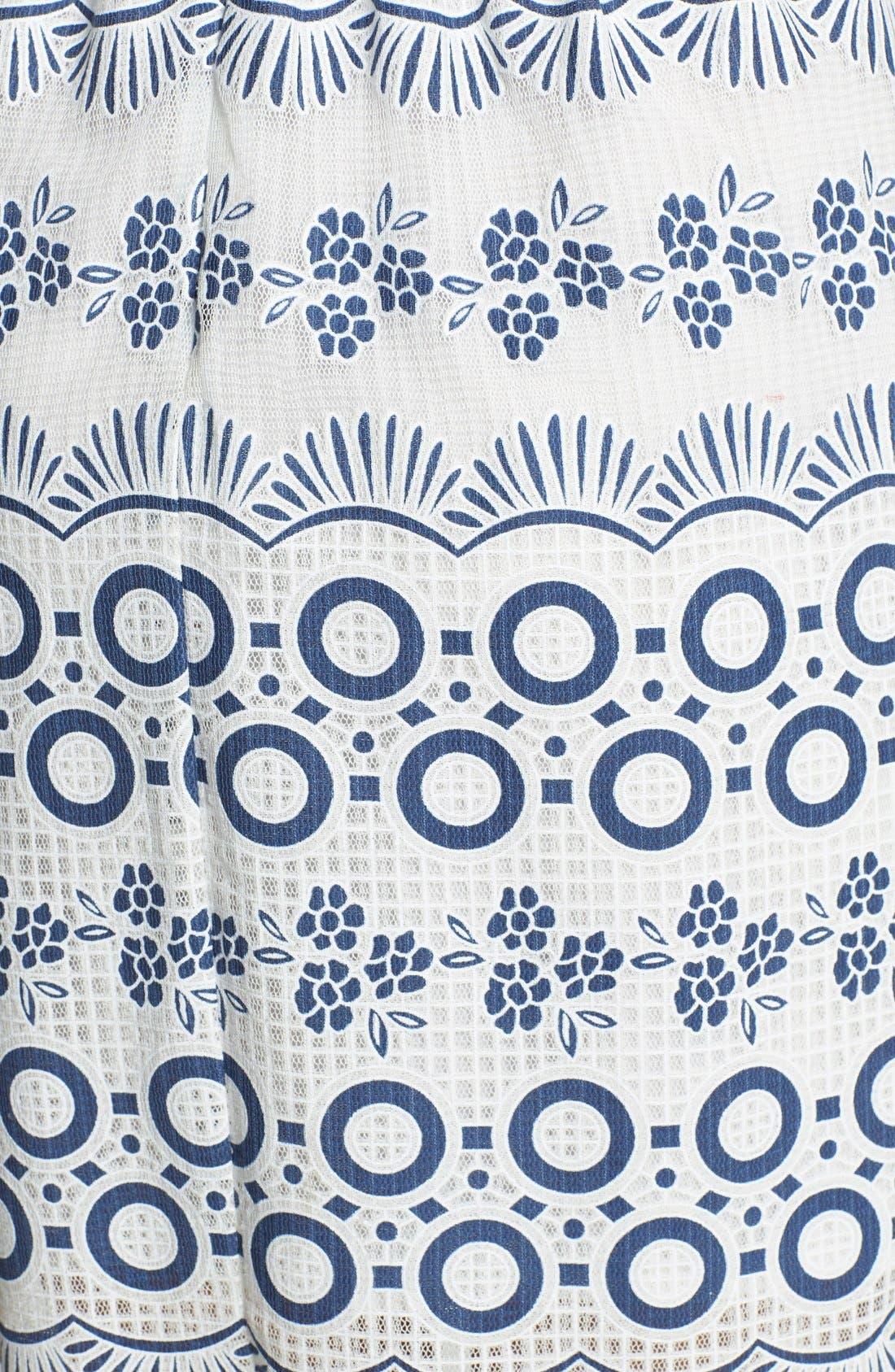 Print Lace Fit & Flare Dress,                             Alternate thumbnail 4, color,                             469