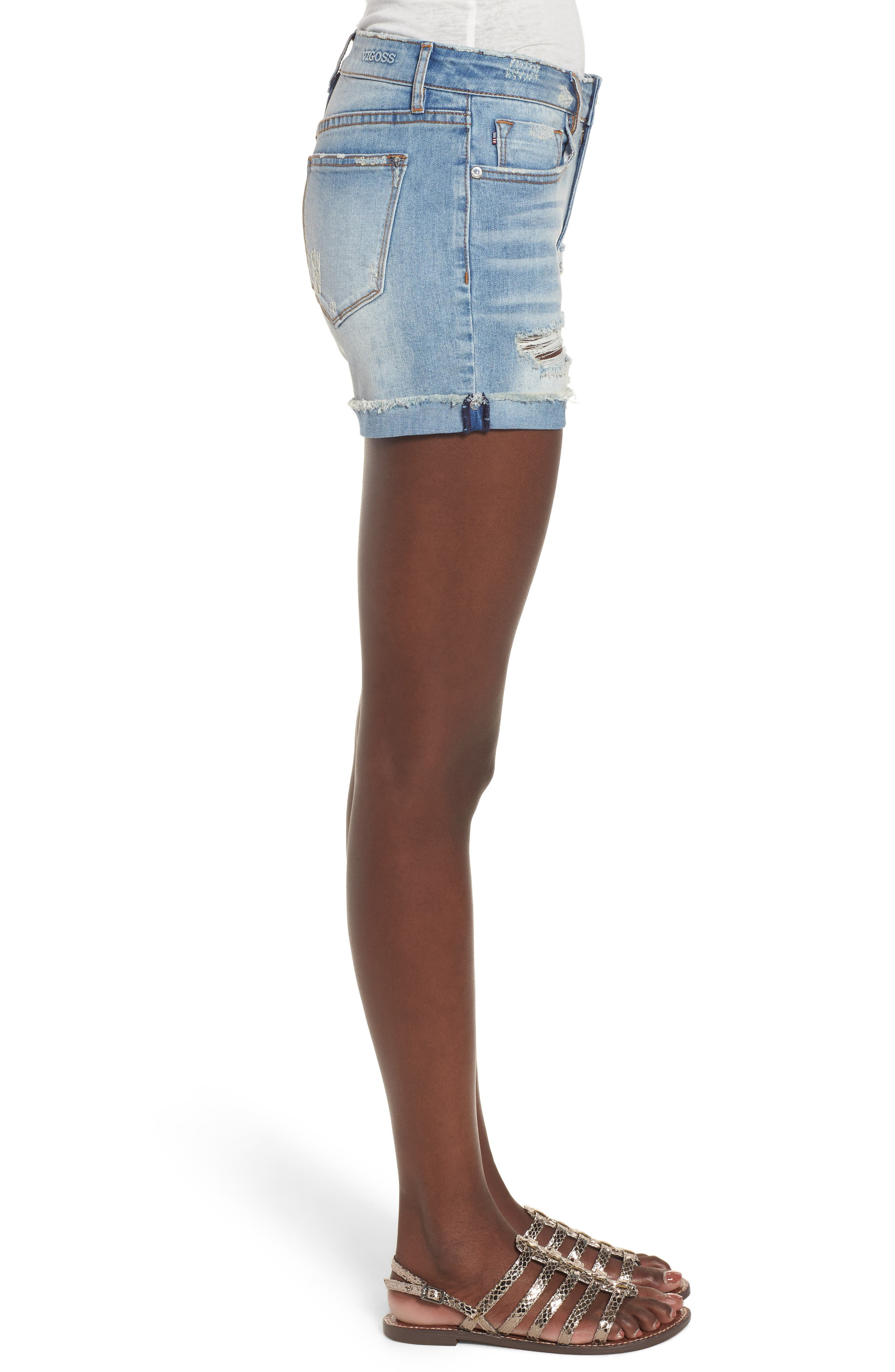 Marley Denim Shorts,                             Alternate thumbnail 3, color,                             461