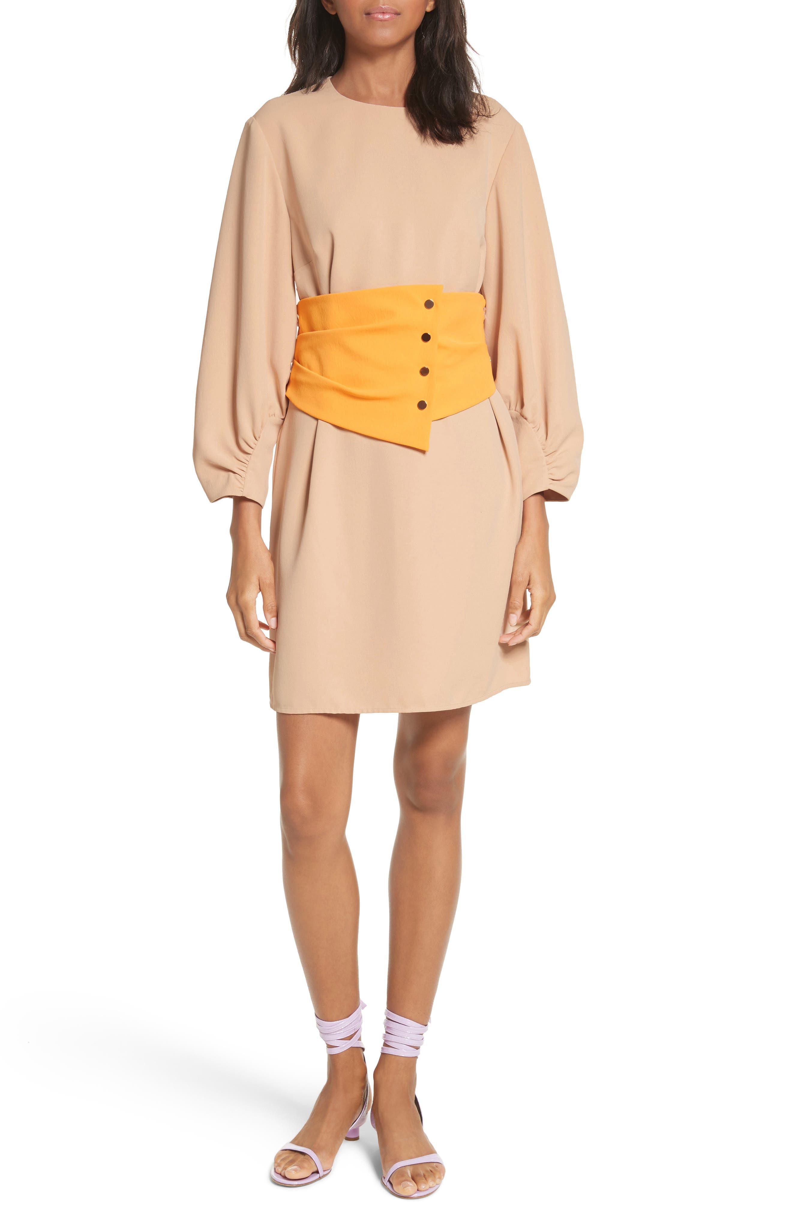 Shirred Sleeve Corset Dress,                         Main,                         color, NUDE/ ORANGE MULTI
