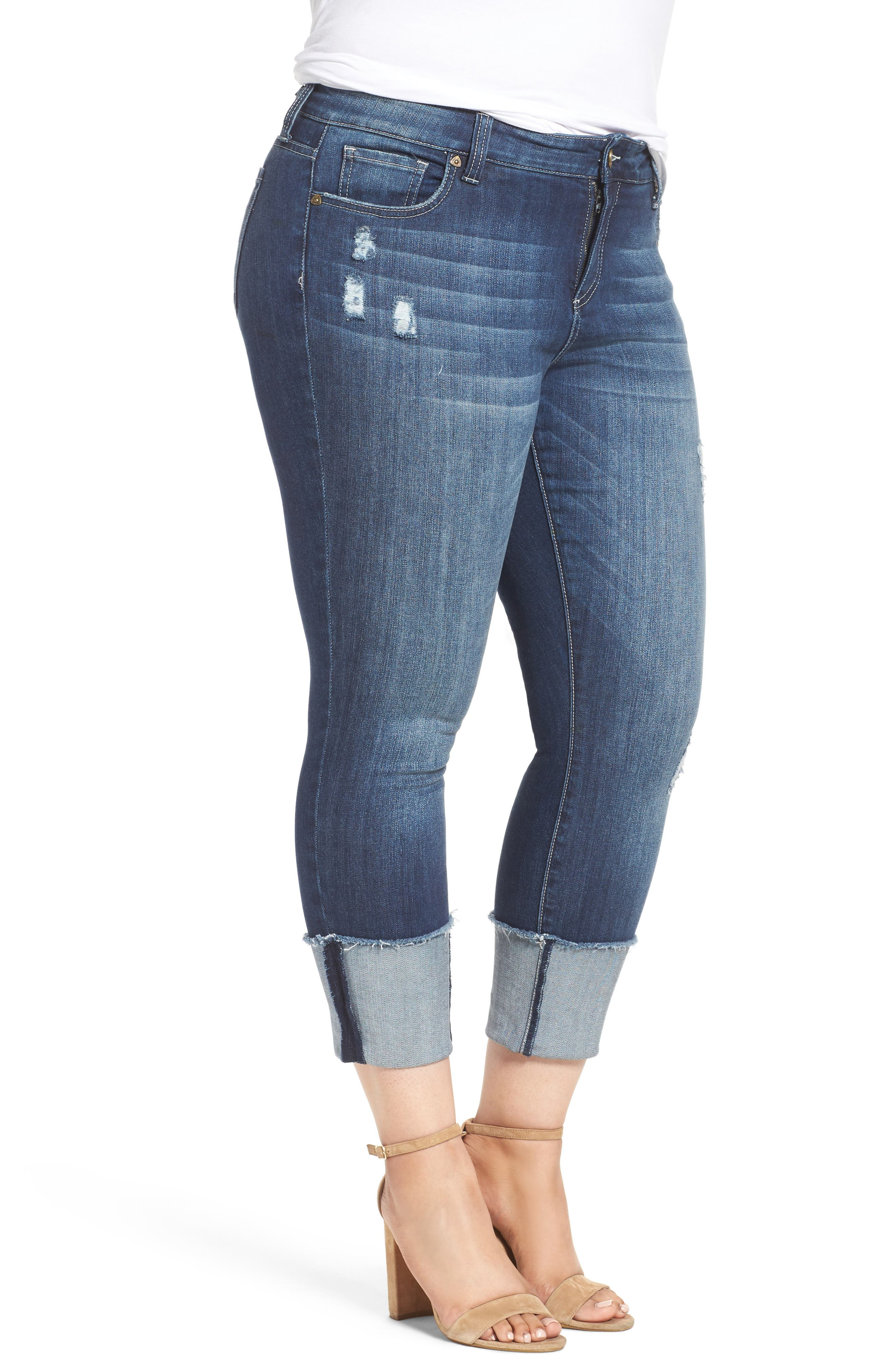 Cameron Cuffed Straight Leg Jeans,                             Alternate thumbnail 3, color,                             400