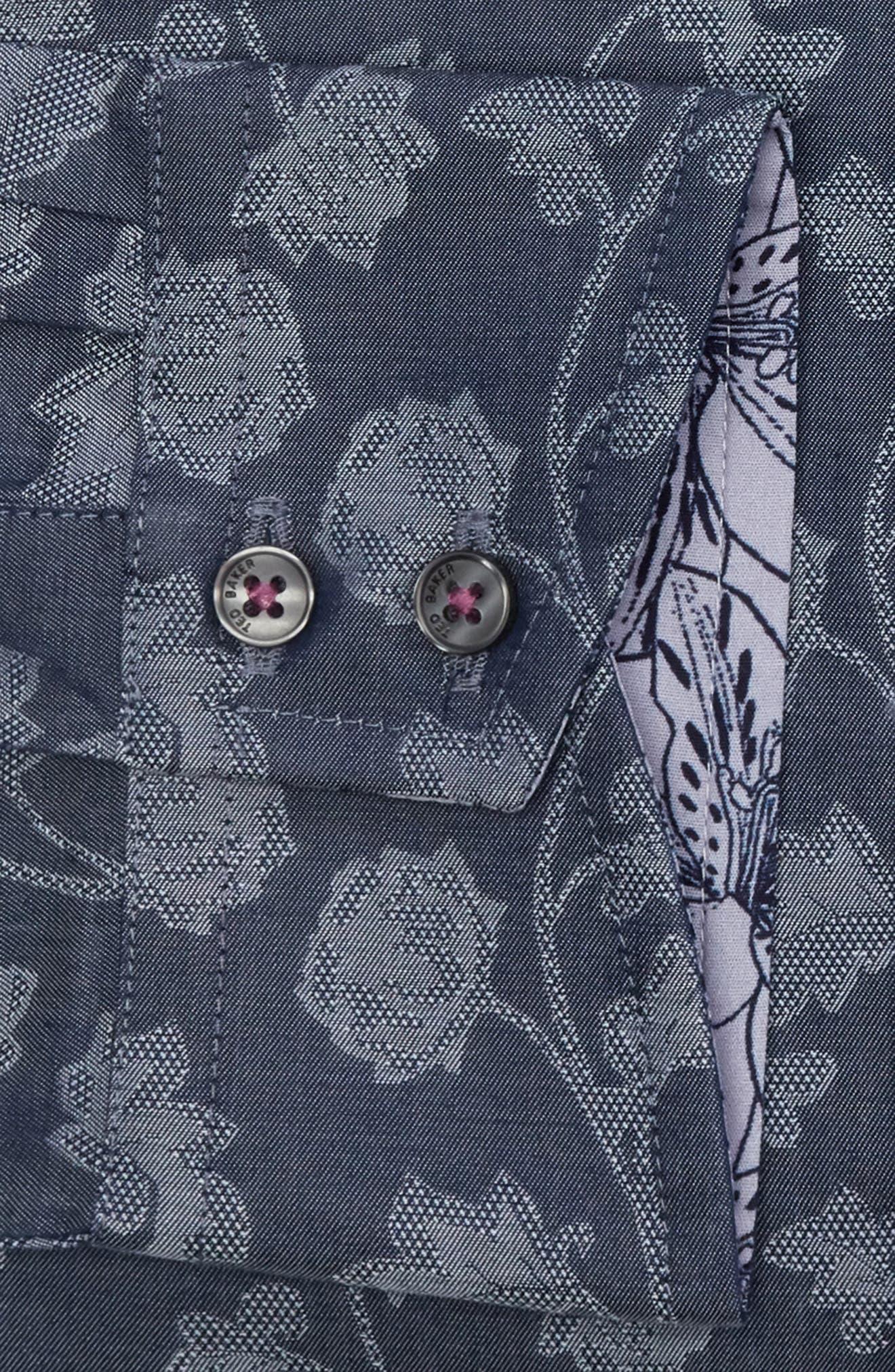 Place Trim Fit Floral Dress Shirt,                             Alternate thumbnail 6, color,                             NAVY