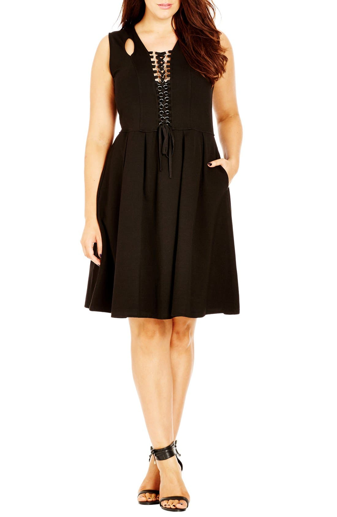 Lace-Up Fit & Flare Dress,                             Alternate thumbnail 5, color,