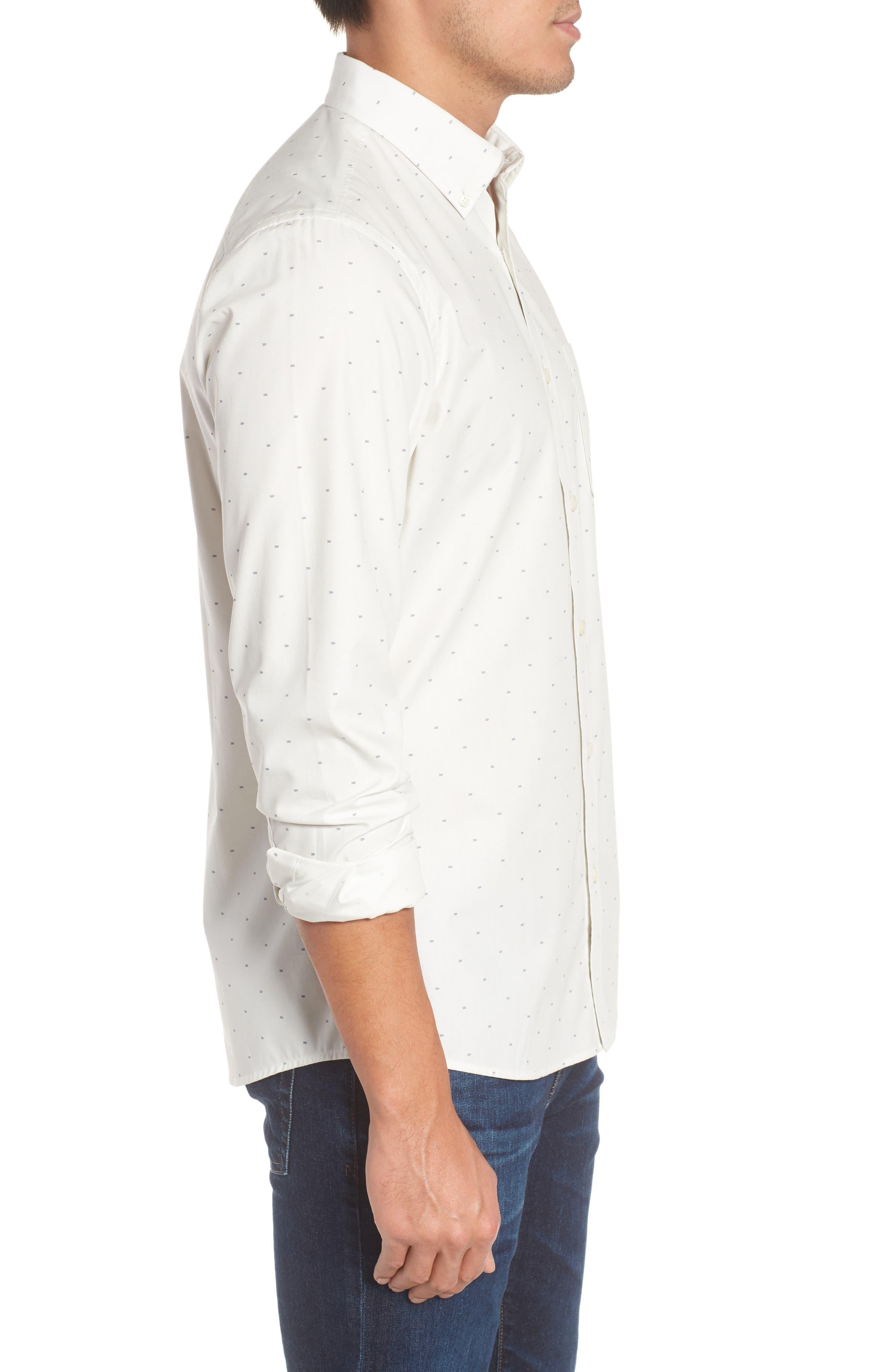 Trim Fit Non-Iron Dobby Sport Shirt,                             Alternate thumbnail 3, color,                             900