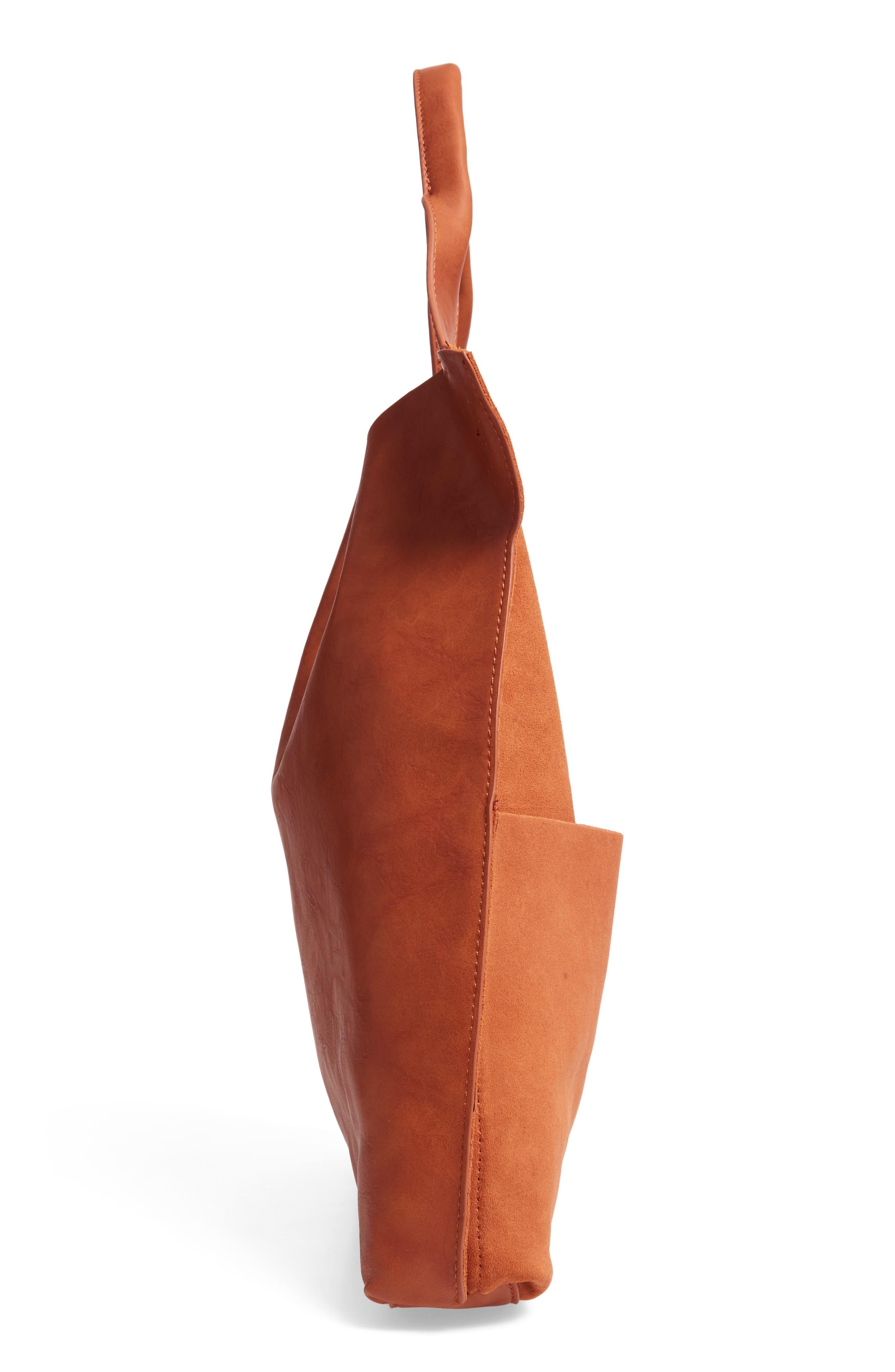 Jamari Suede & Faux Leather Tote,                             Alternate thumbnail 5, color,                             COGNAC