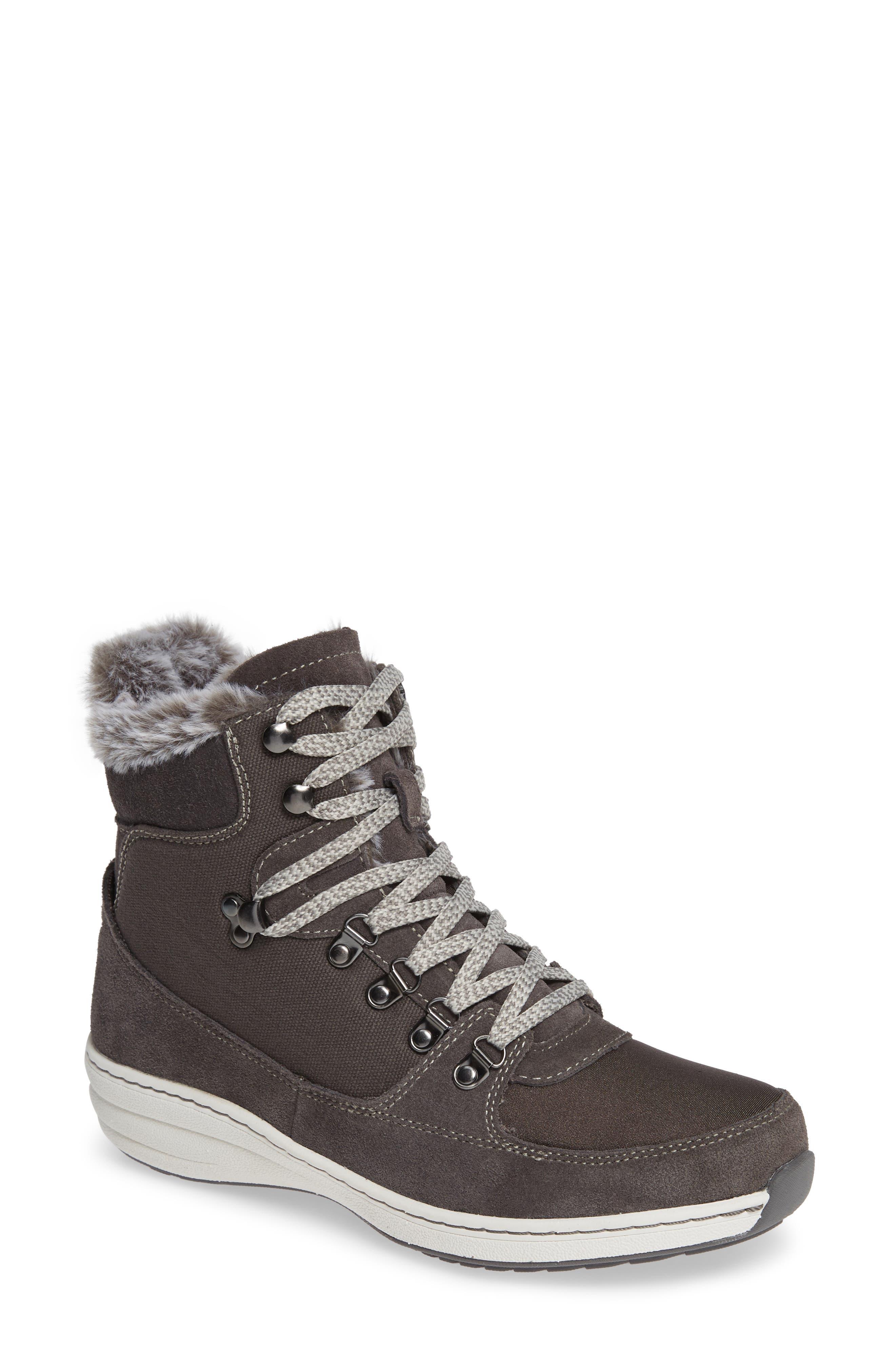 Aetrex Kelsey Faux Fur Lined Hiker Boot - Grey
