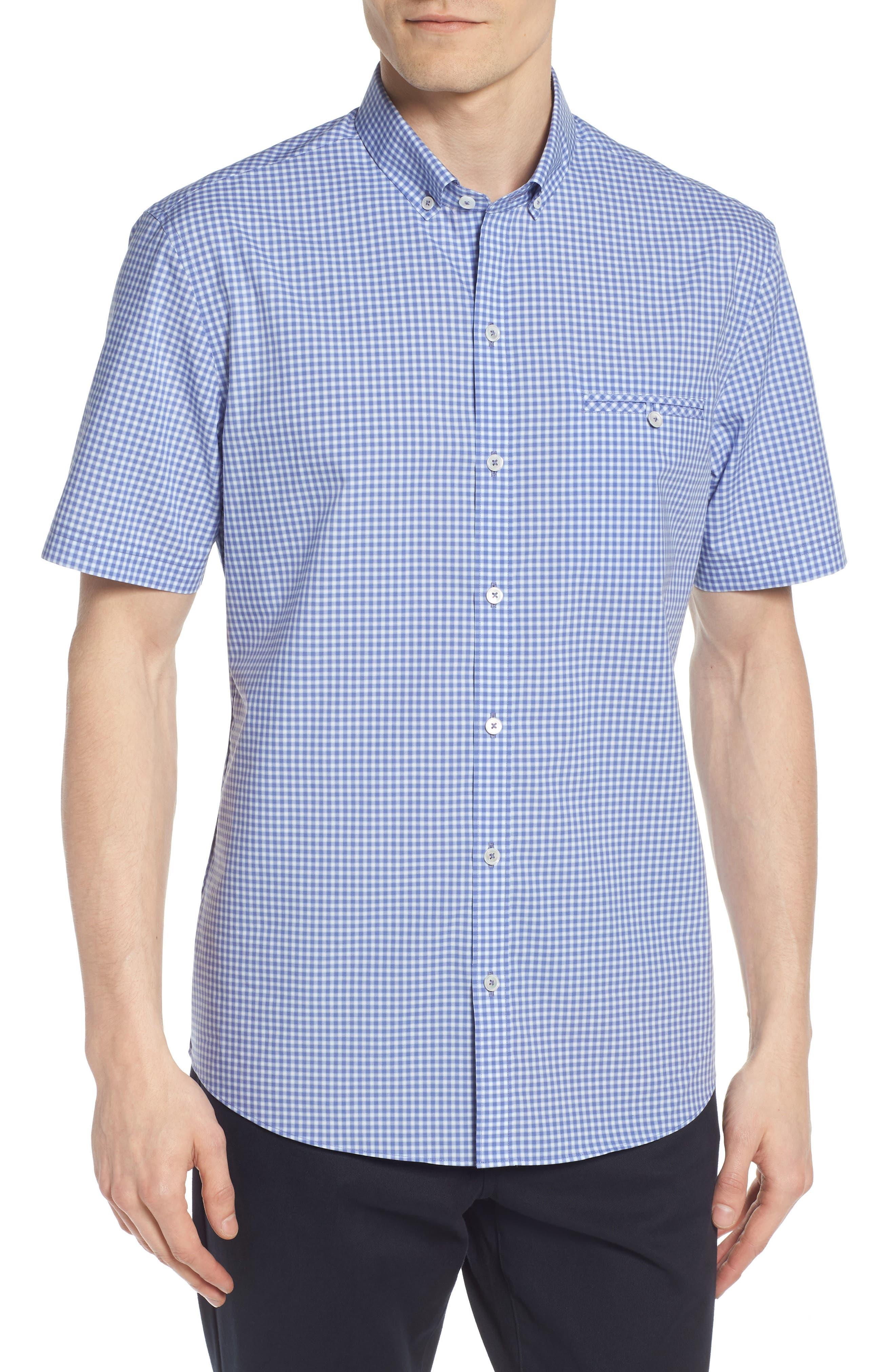 Giovinco Plaid Sport Shirt,                             Main thumbnail 1, color,                             OCEAN