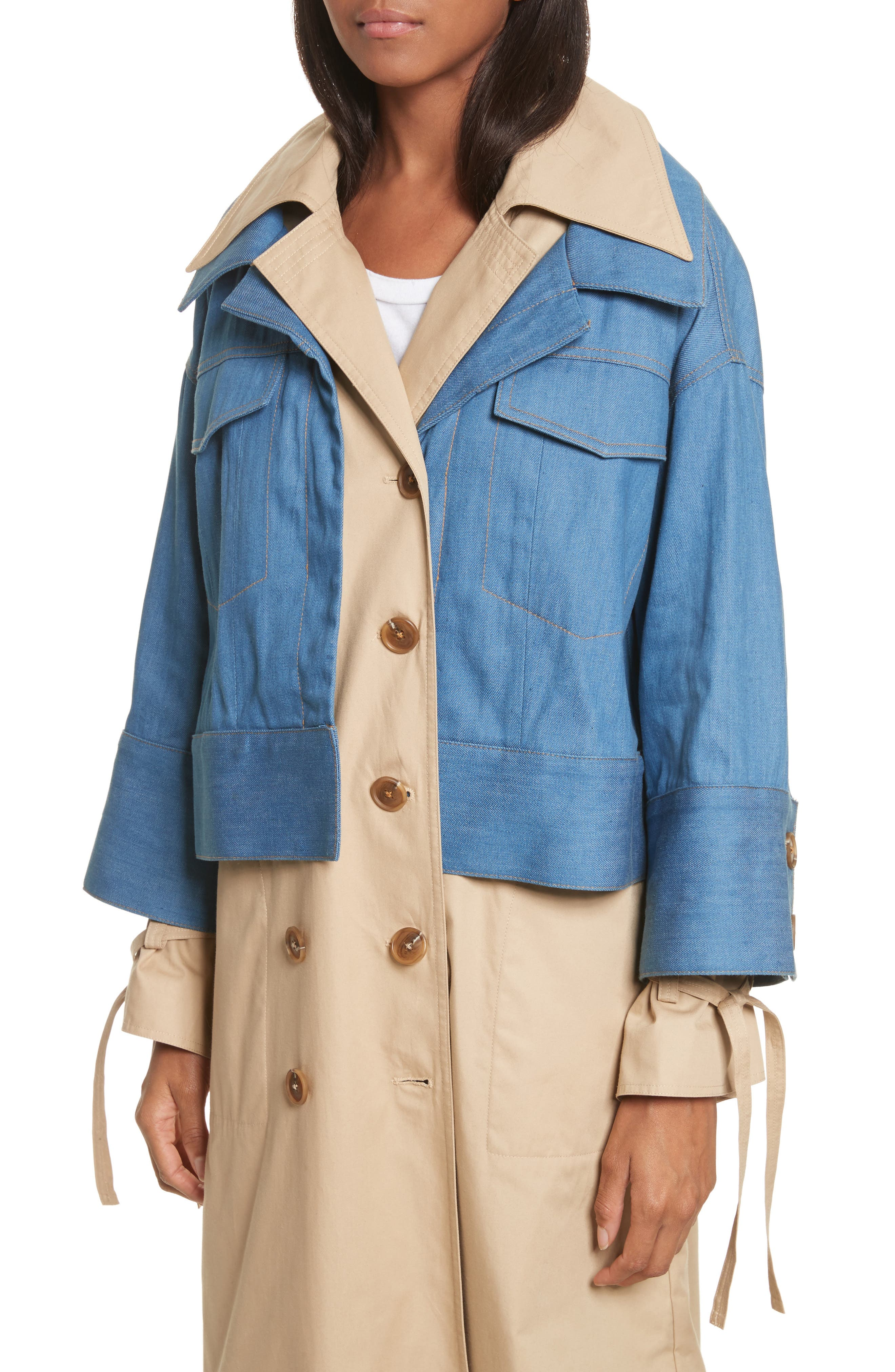 Denim Overlay Trench Coat,                             Alternate thumbnail 4, color,