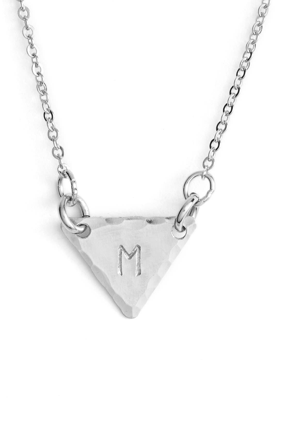 Sterling Silver Initial Mini Triangle Necklace,                             Main thumbnail 13, color,