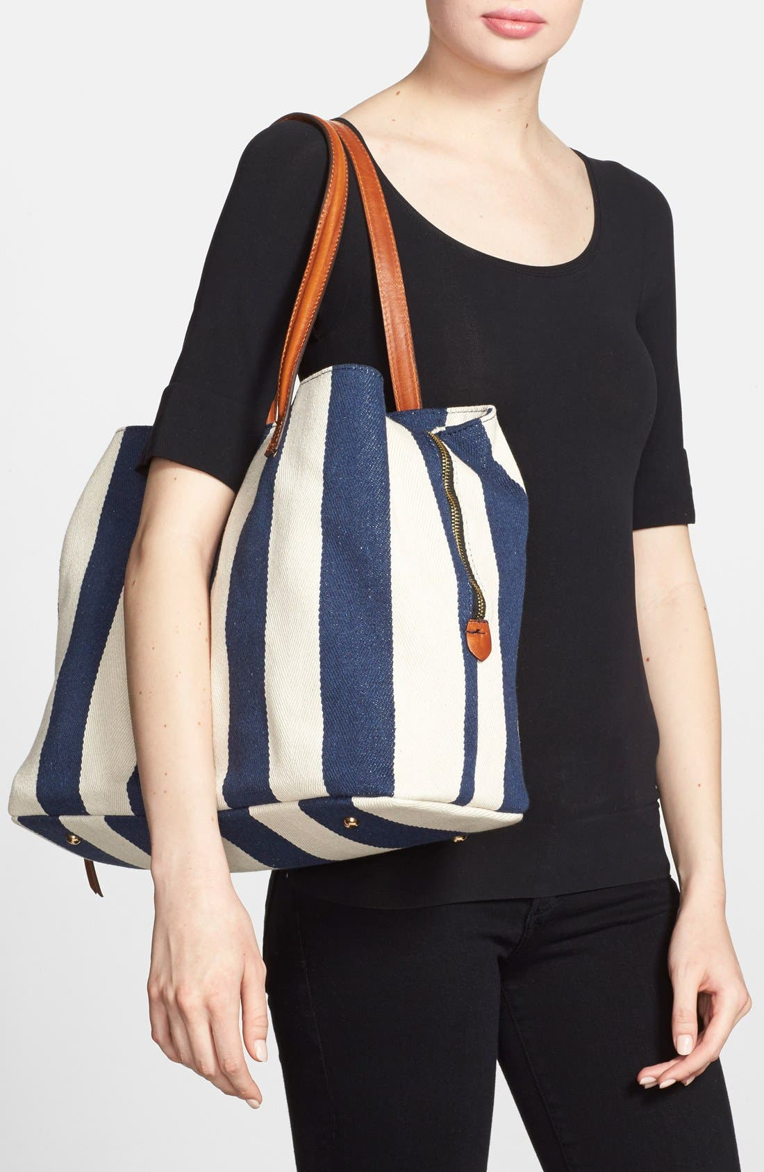 SOLE SOCIETY,                             'Oversize Millie' Stripe Print Tote,                             Alternate thumbnail 7, color,                             NAVY CREAM