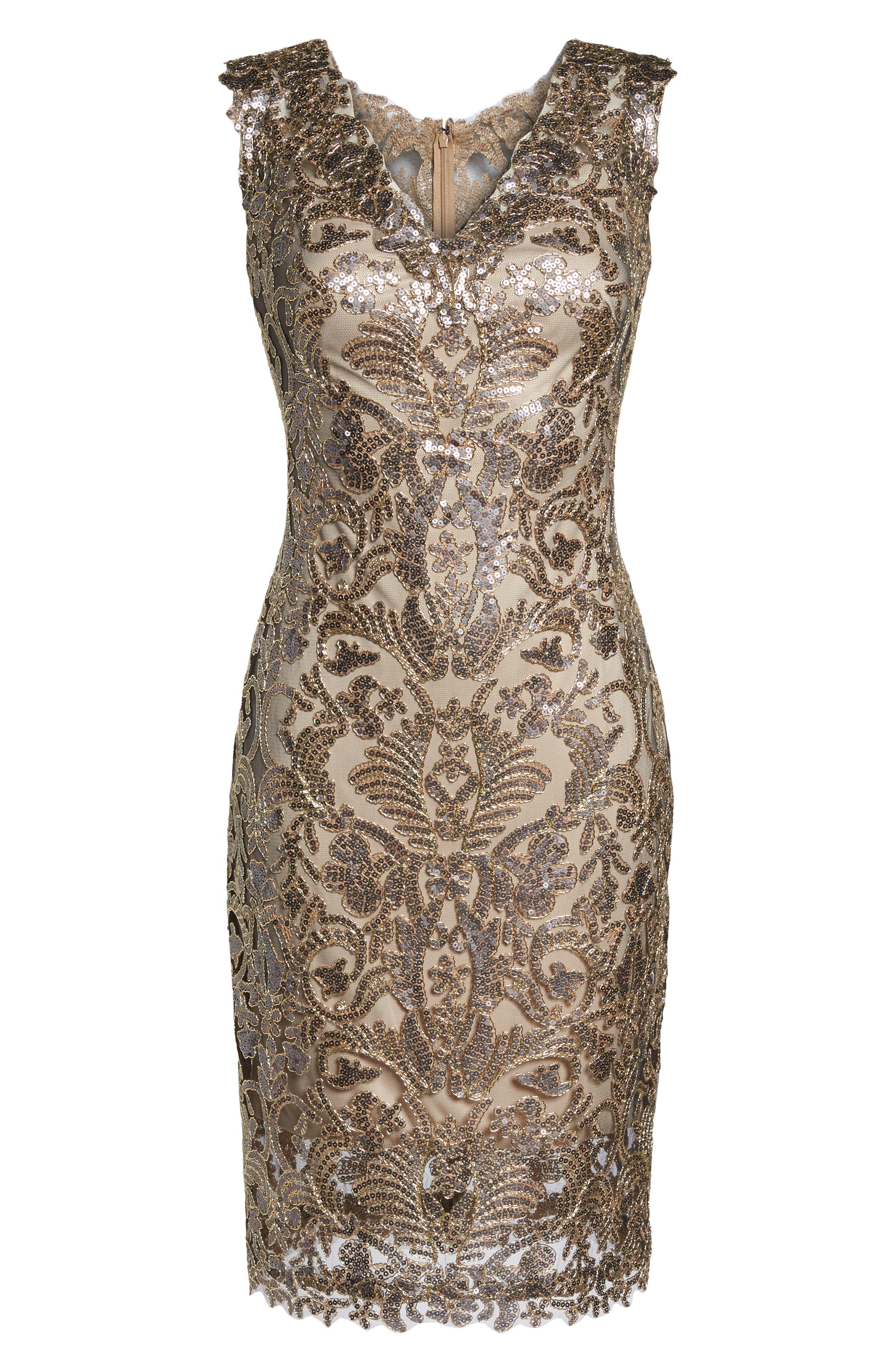 Sequin & Lace Sheath Dress,                             Alternate thumbnail 7, color,                             COPPER SHADOW