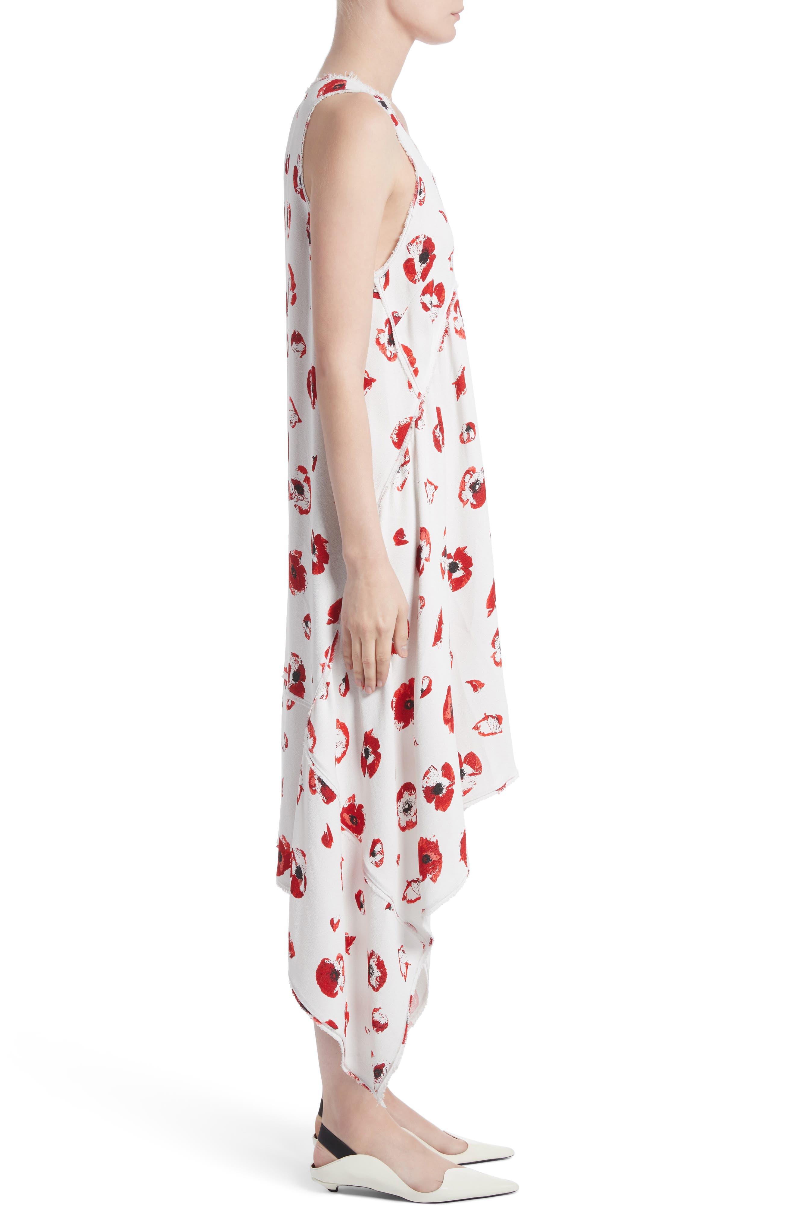Floral Print Handkerchief Hem Dress,                             Alternate thumbnail 3, color,                             115