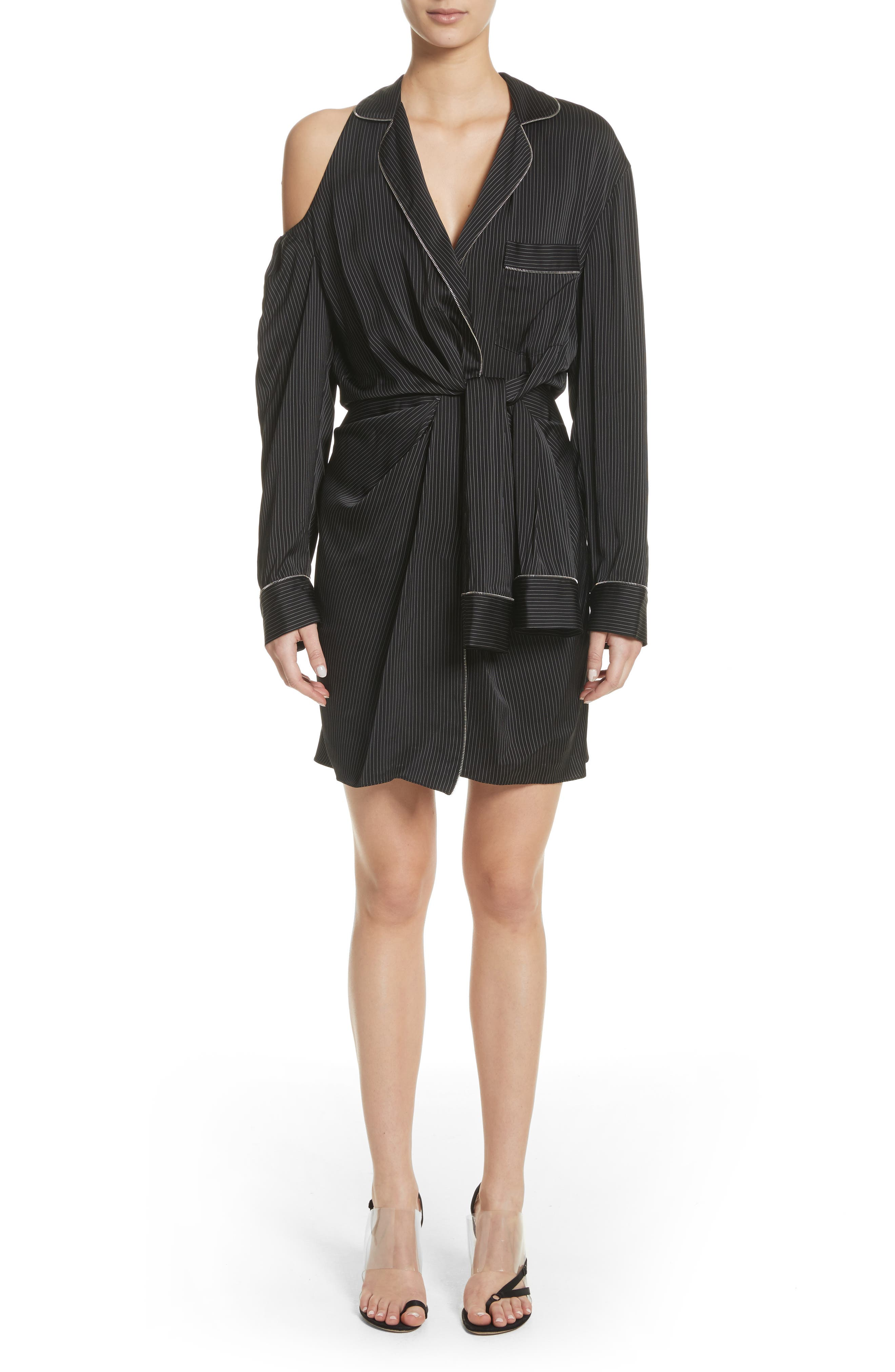 Zip Detail Pajama Dress,                             Main thumbnail 1, color,                             001