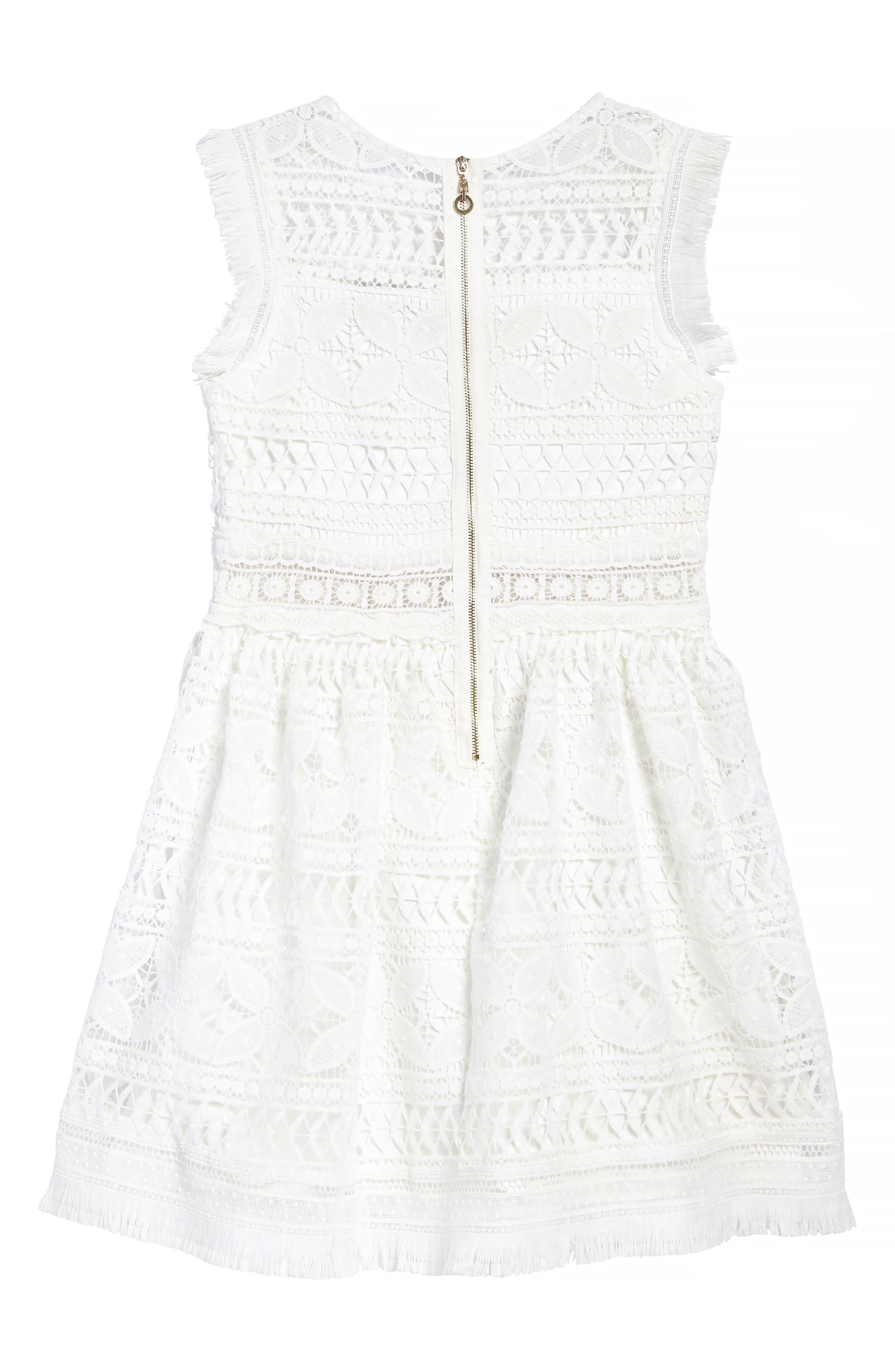 Fringe Trim Lace Dress,                             Alternate thumbnail 2, color,