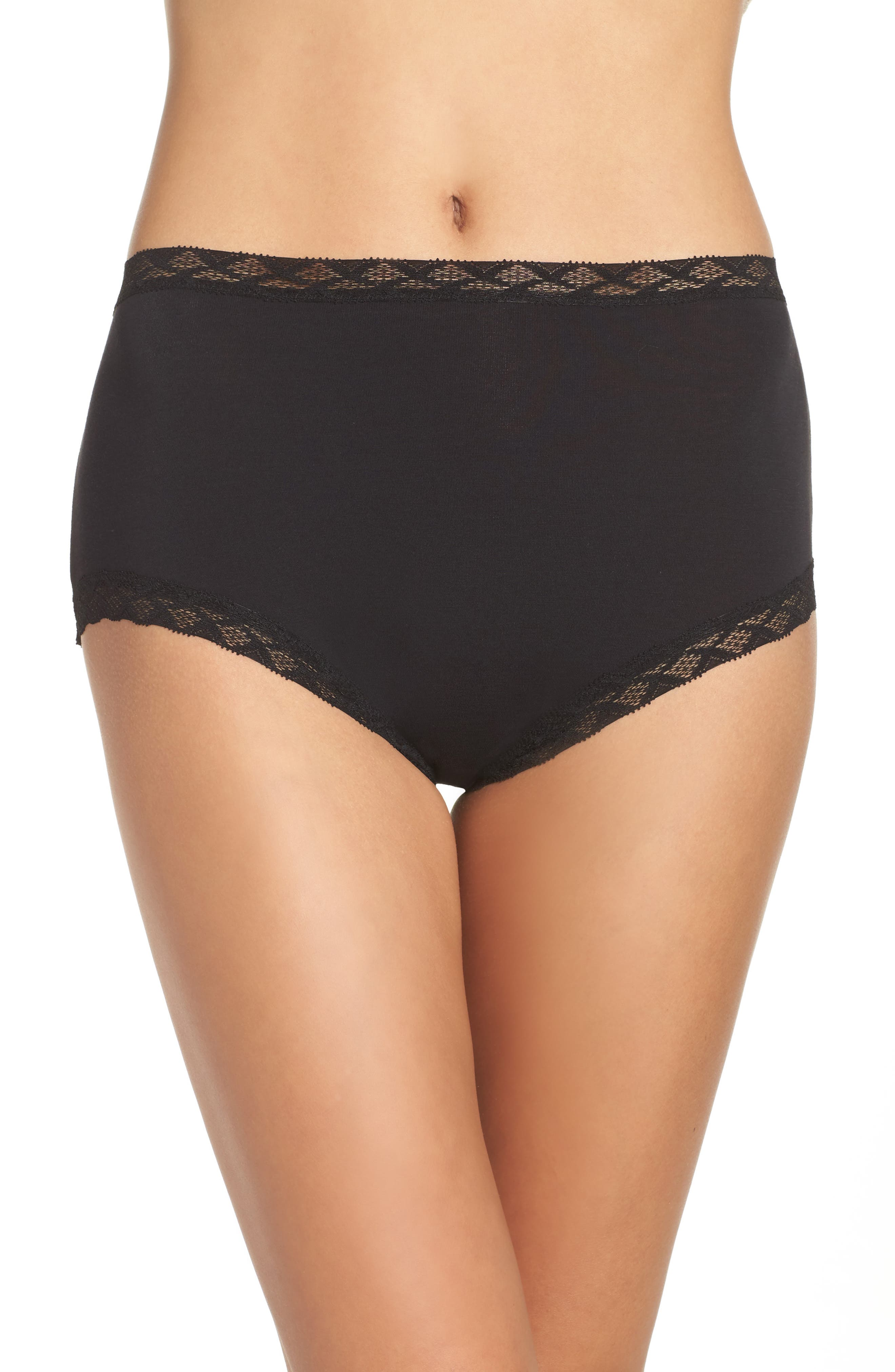 Bliss Cotton Full Brief,                             Alternate thumbnail 2, color,                             BLACK