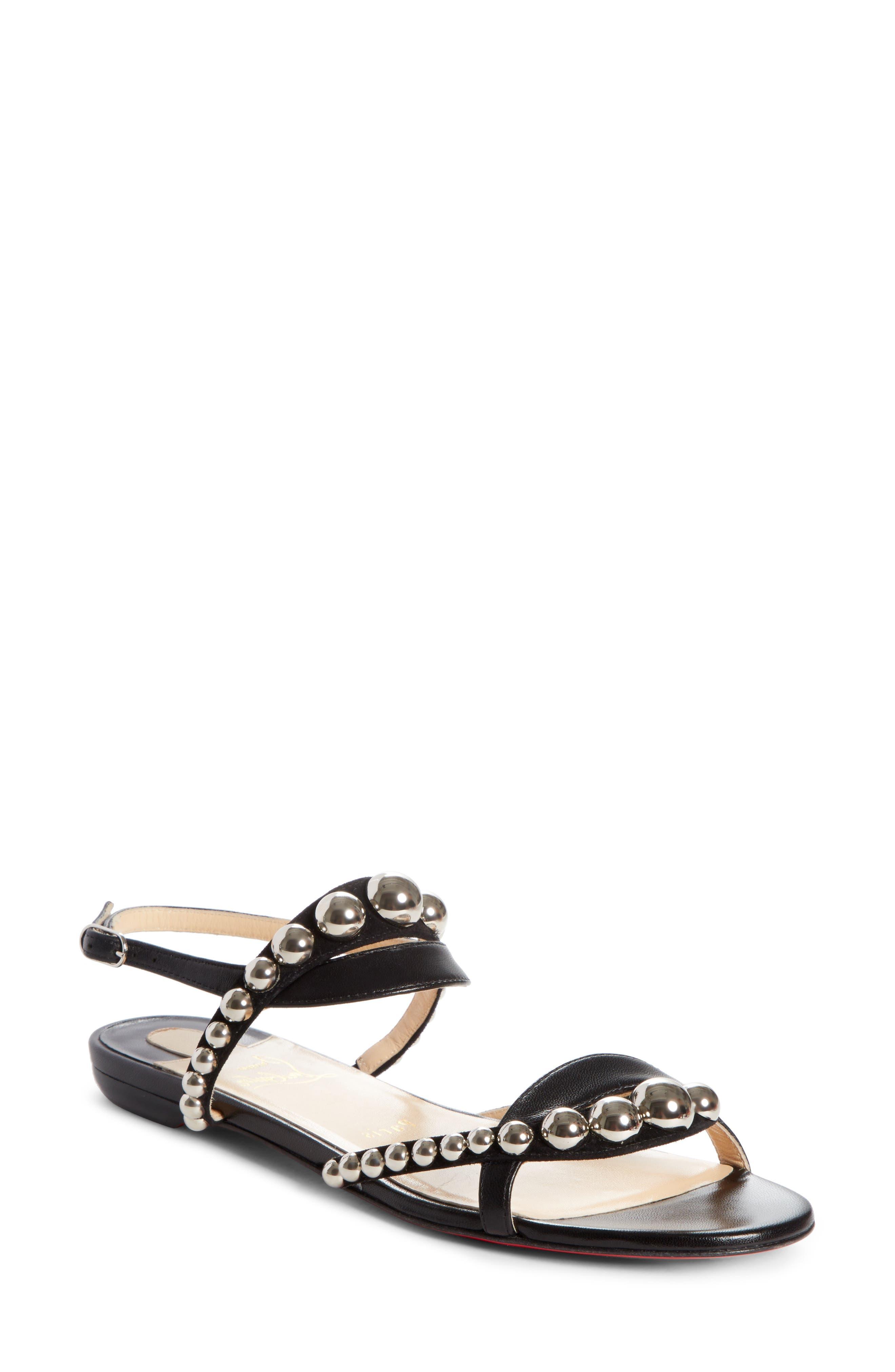 Galeria Ornament Flat Sandal,                         Main,                         color, BLACK/ SILVER