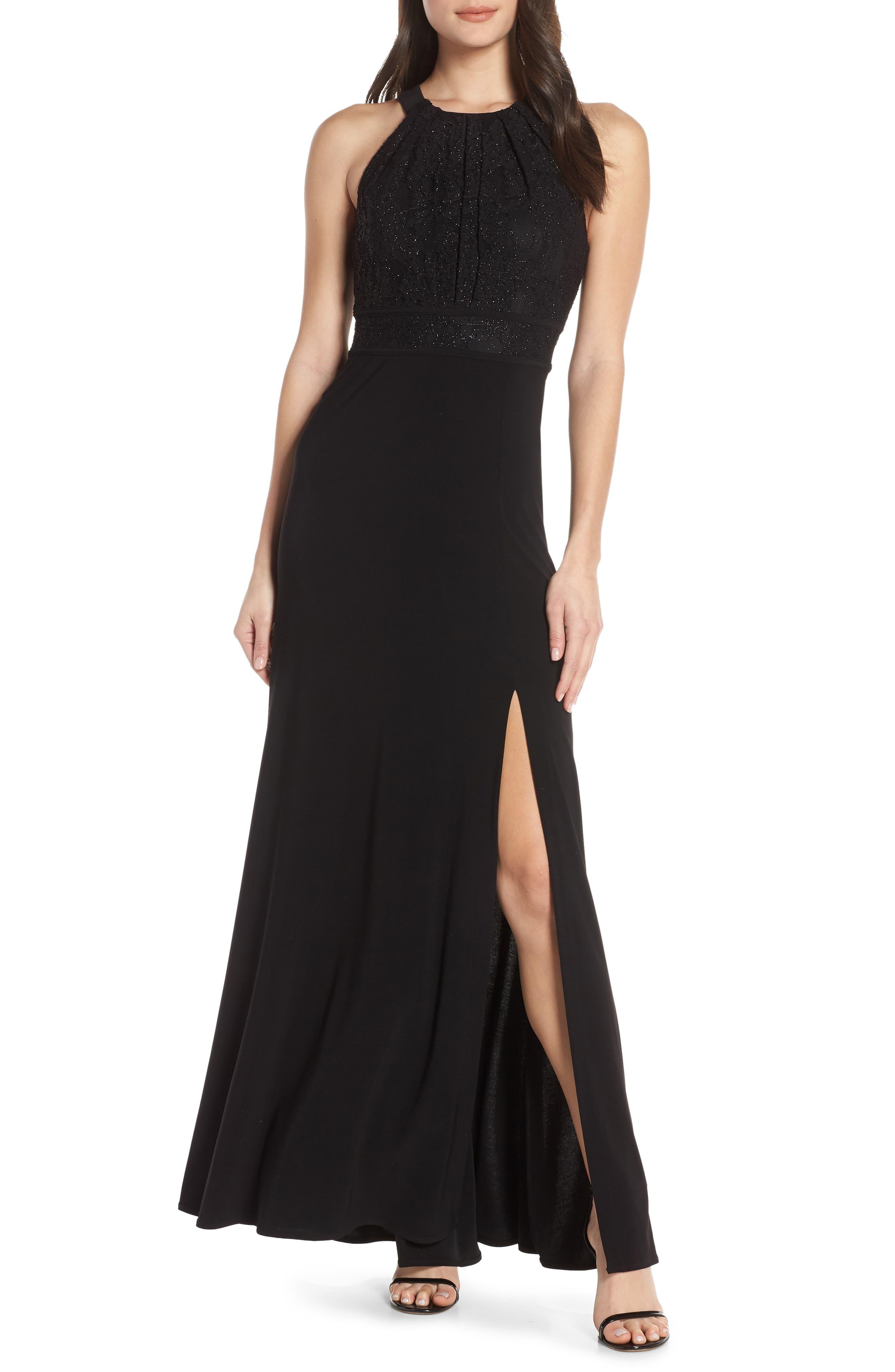MORGAN & CO.,                             Pleat Lace Bodice Evening Dress,                             Main thumbnail 1, color,                             BLACK