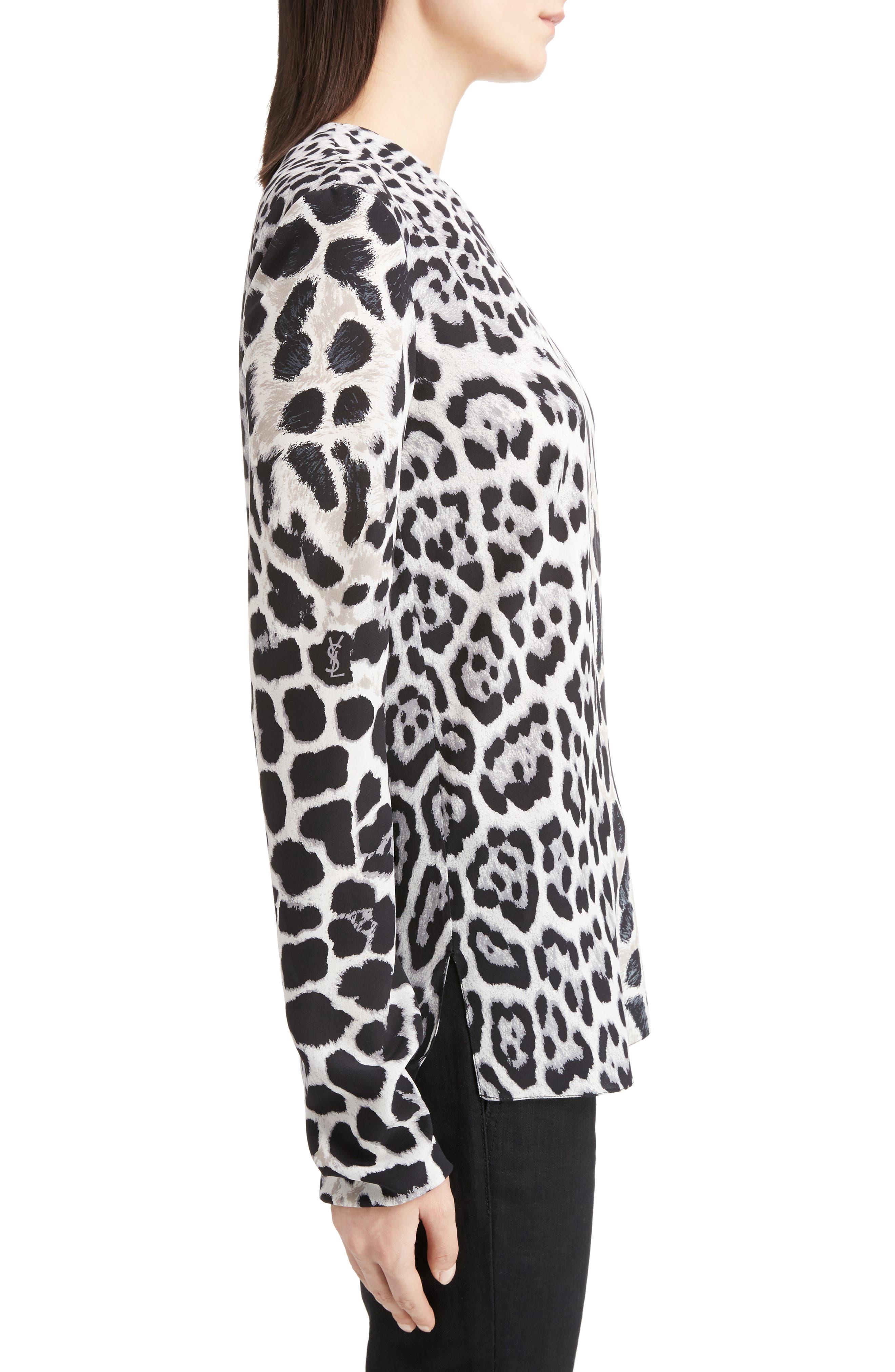 Logo & Leopard Print Silk Crêpe de Chine Blouse,                             Alternate thumbnail 3, color,                             011