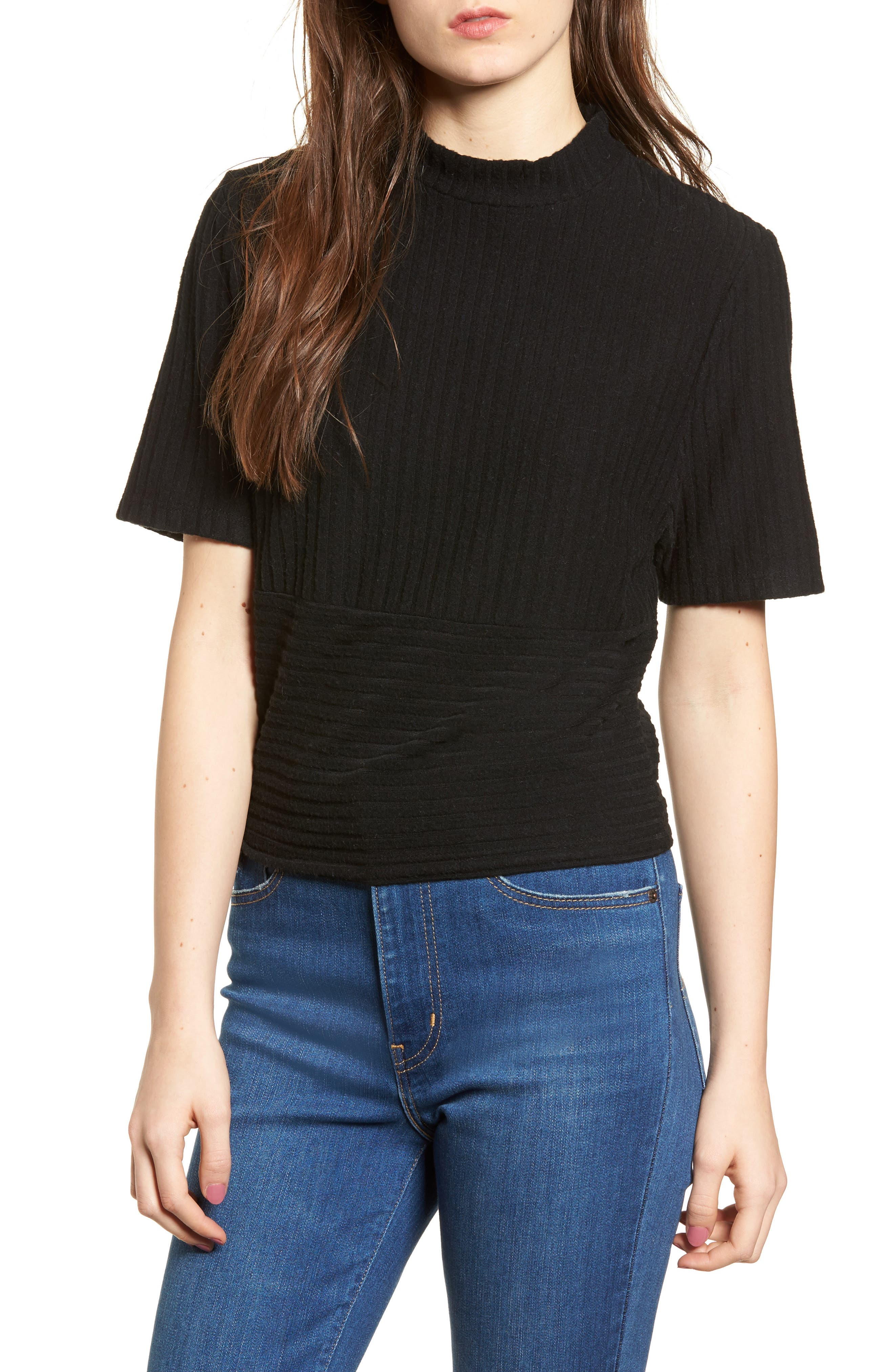 Mock Neck Ribbed Top,                         Main,                         color, 001