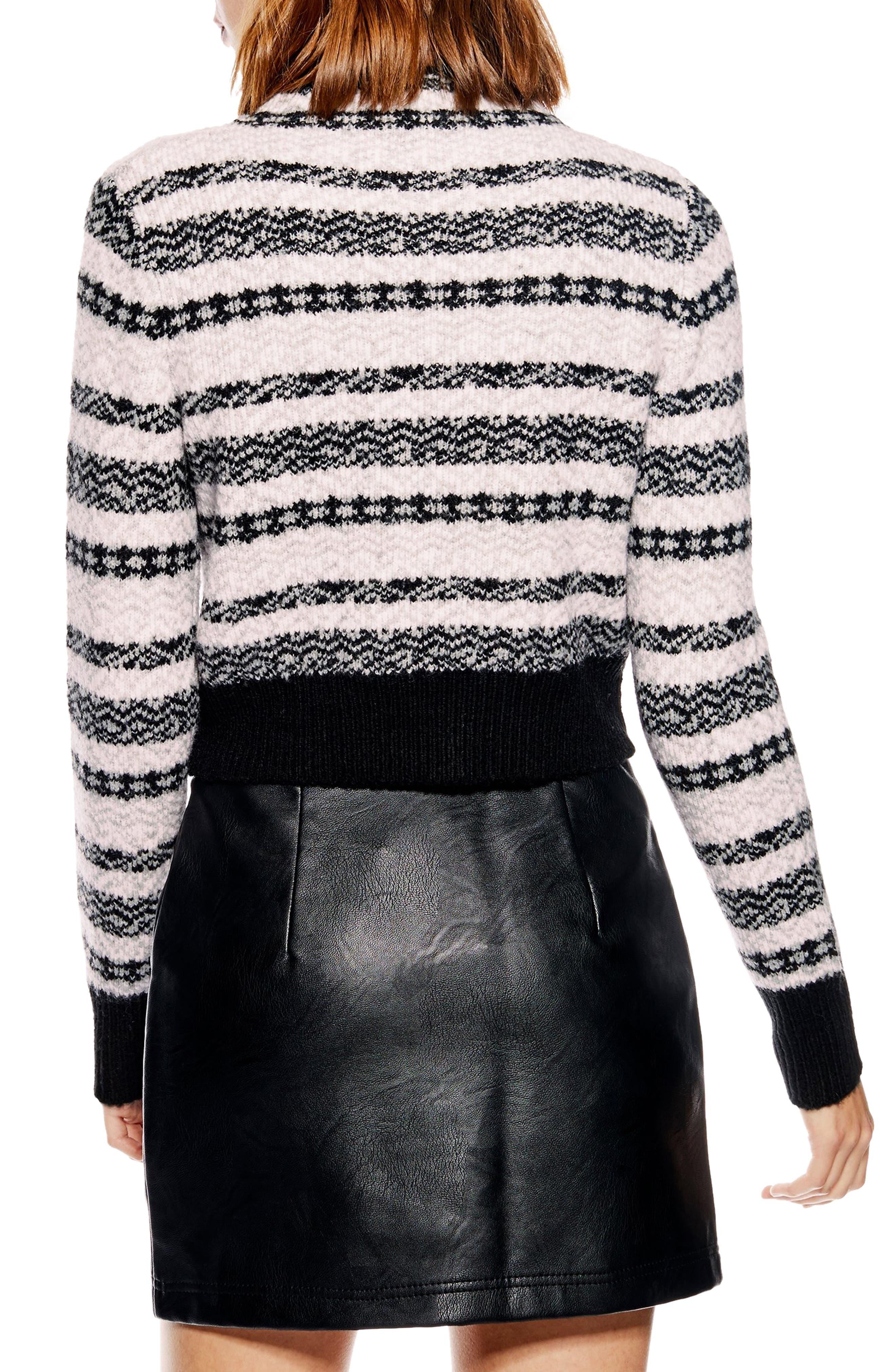 Fair Isle Crop Sweater,                             Alternate thumbnail 2, color,                             BLACK MULTI