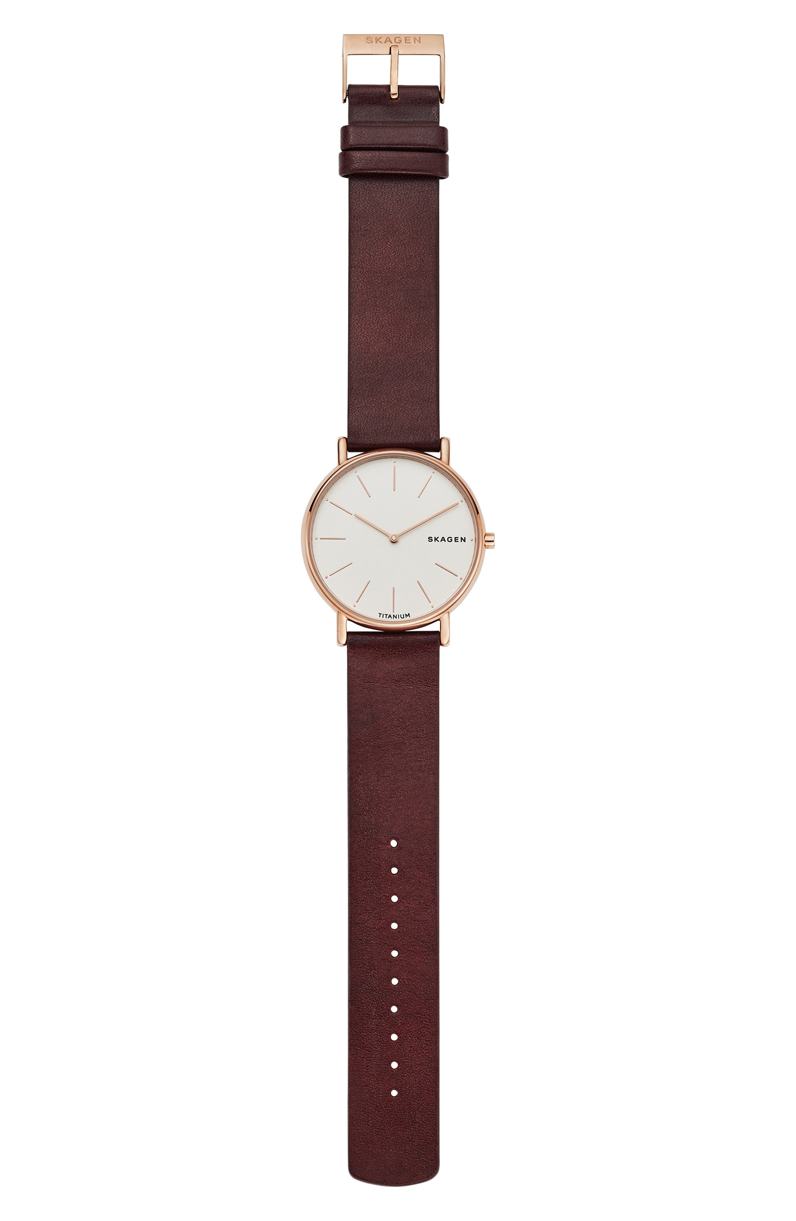 Signatur Leather Strap Watch, 40mm,                             Alternate thumbnail 5, color,                             RED/ WHITE/ ROSE GOLD