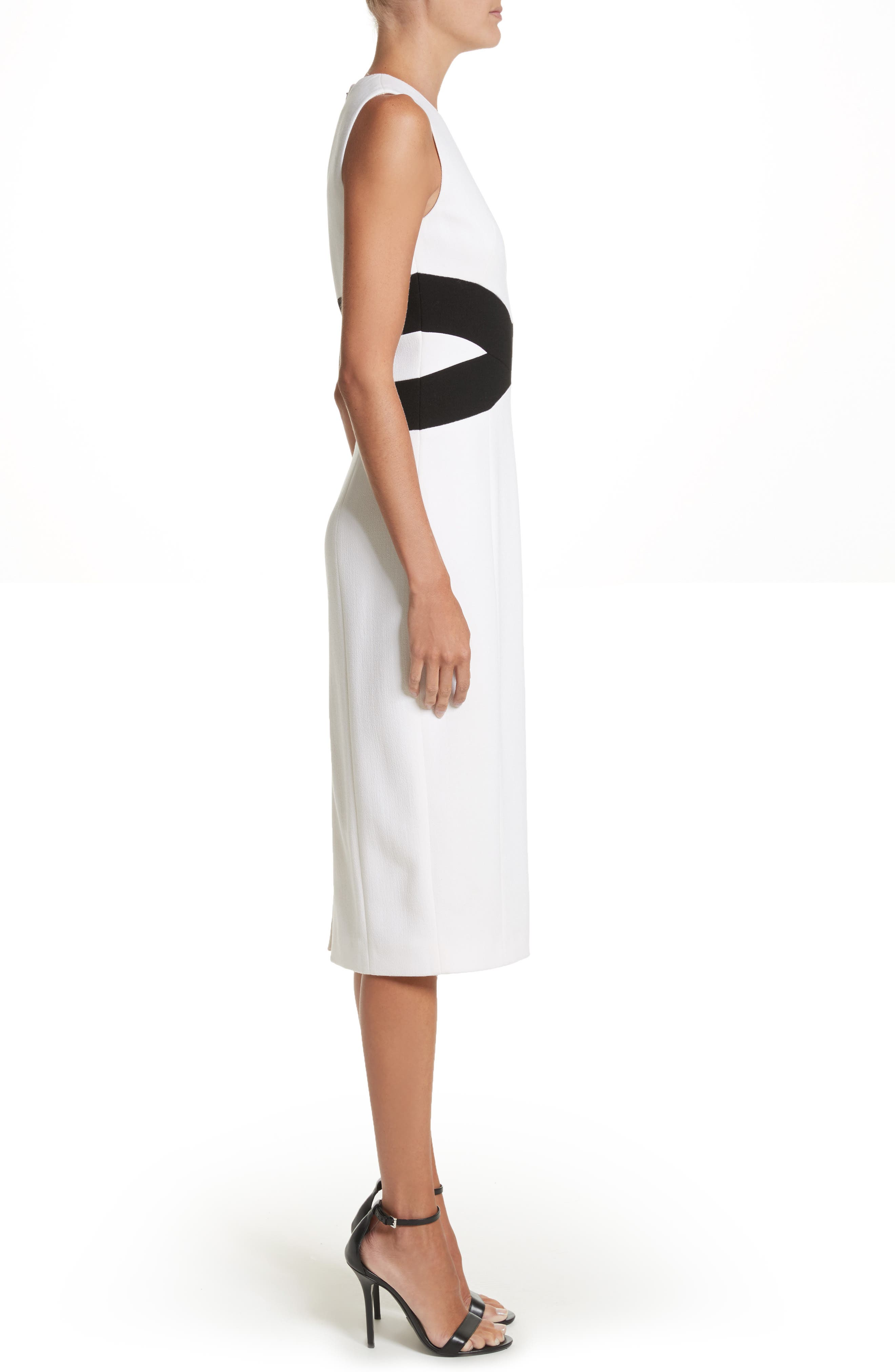 Contrast Stretch Bouclé Crepe Sheath Dress,                             Alternate thumbnail 3, color,                             101