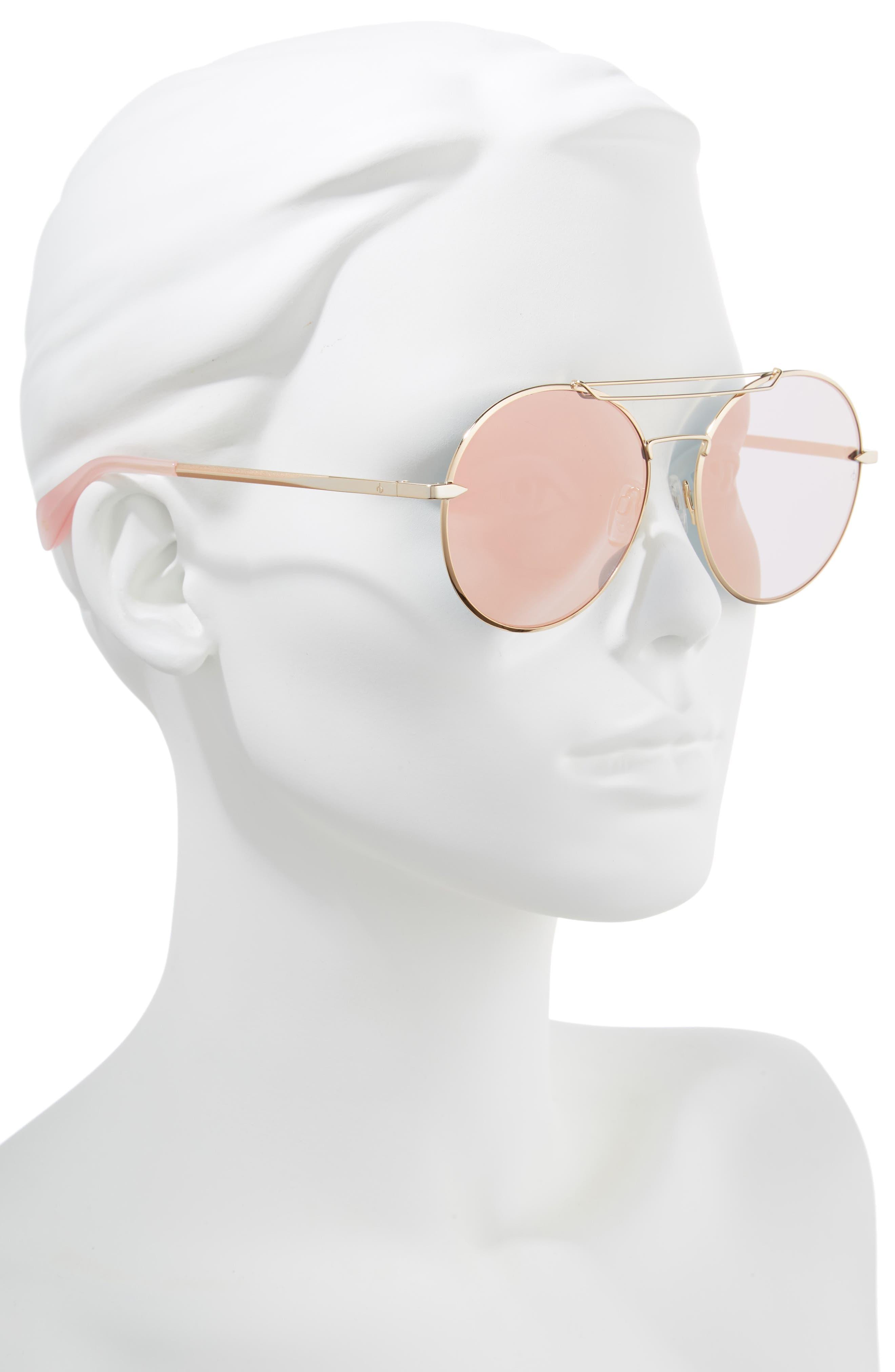 59mm Round Metal Aviator Sunglasses,                             Alternate thumbnail 2, color,                             ROSE GOLD
