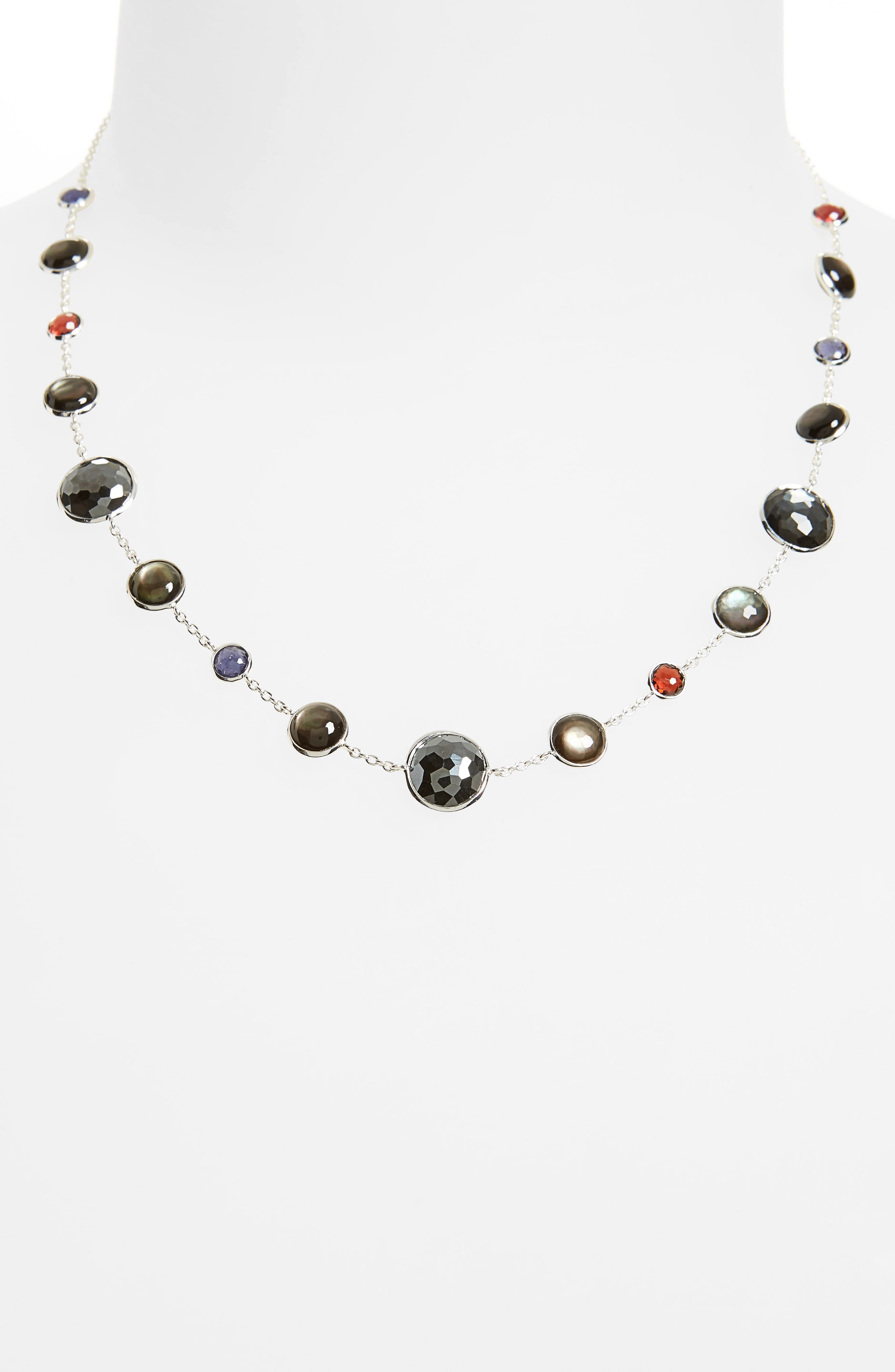 Semiprecious Stone Collar Necklace,                             Alternate thumbnail 2, color,                             RED