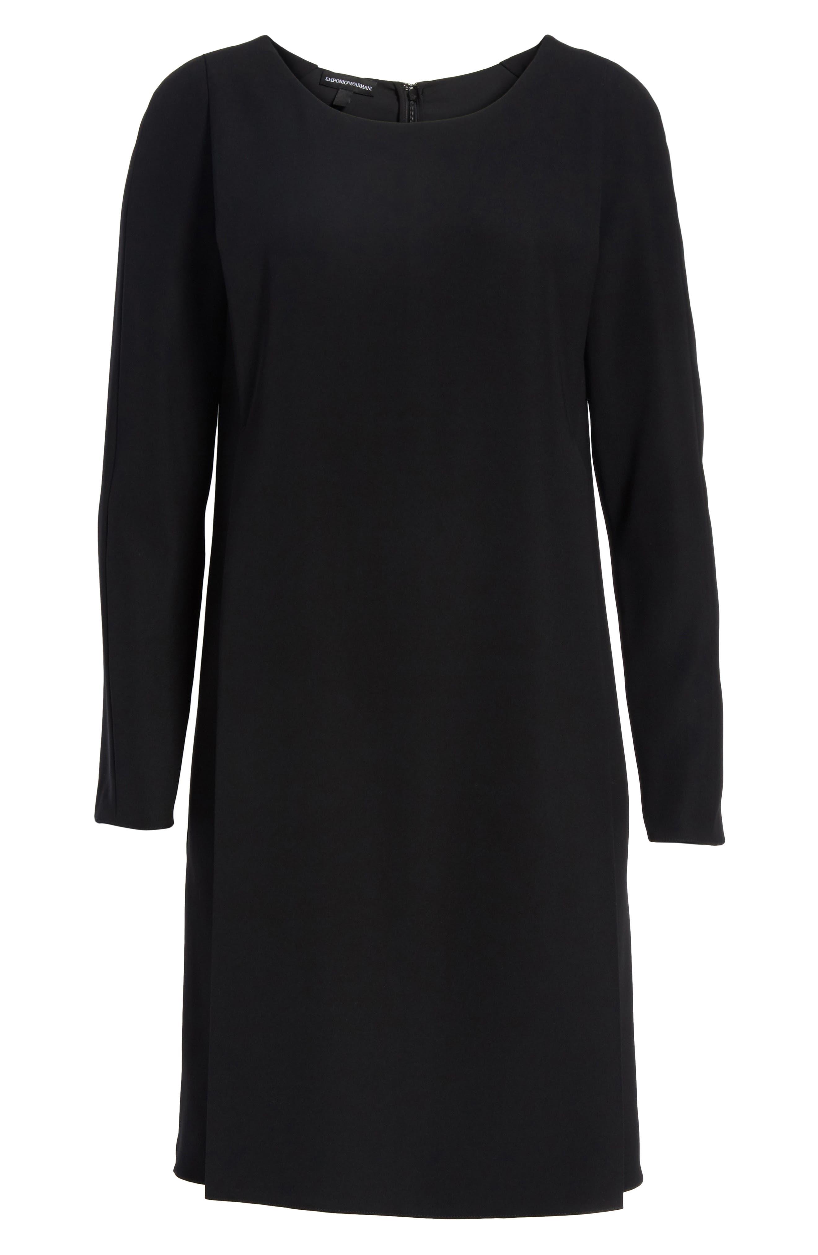 EMPORIO ARMANI,                             Draped Cady Shift Dress,                             Alternate thumbnail 6, color,                             004